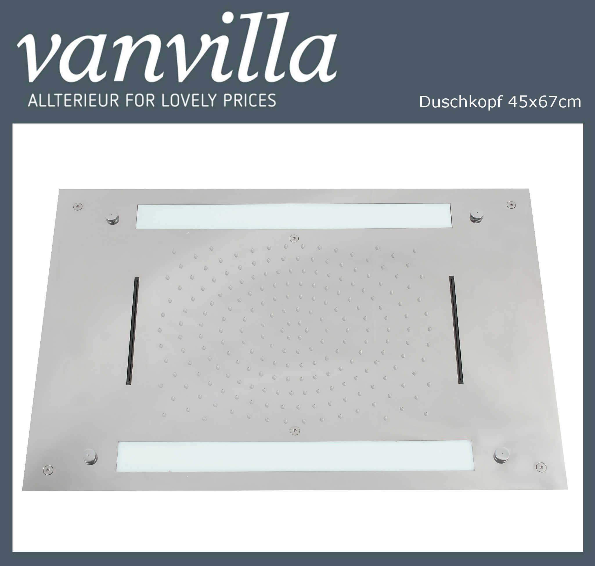 Duschkopf vanvilla LED 45cm x 67cm poliert flächenbündig Einbaubox 114567AW-P