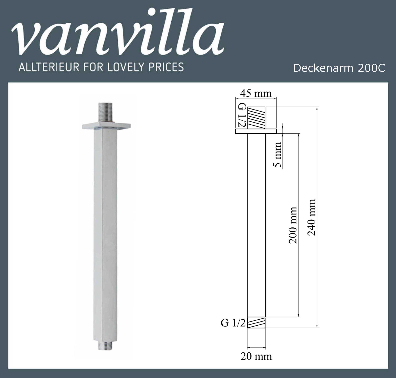Duscharm Decke eckig 20cm DAE200C poliert PD-P54
