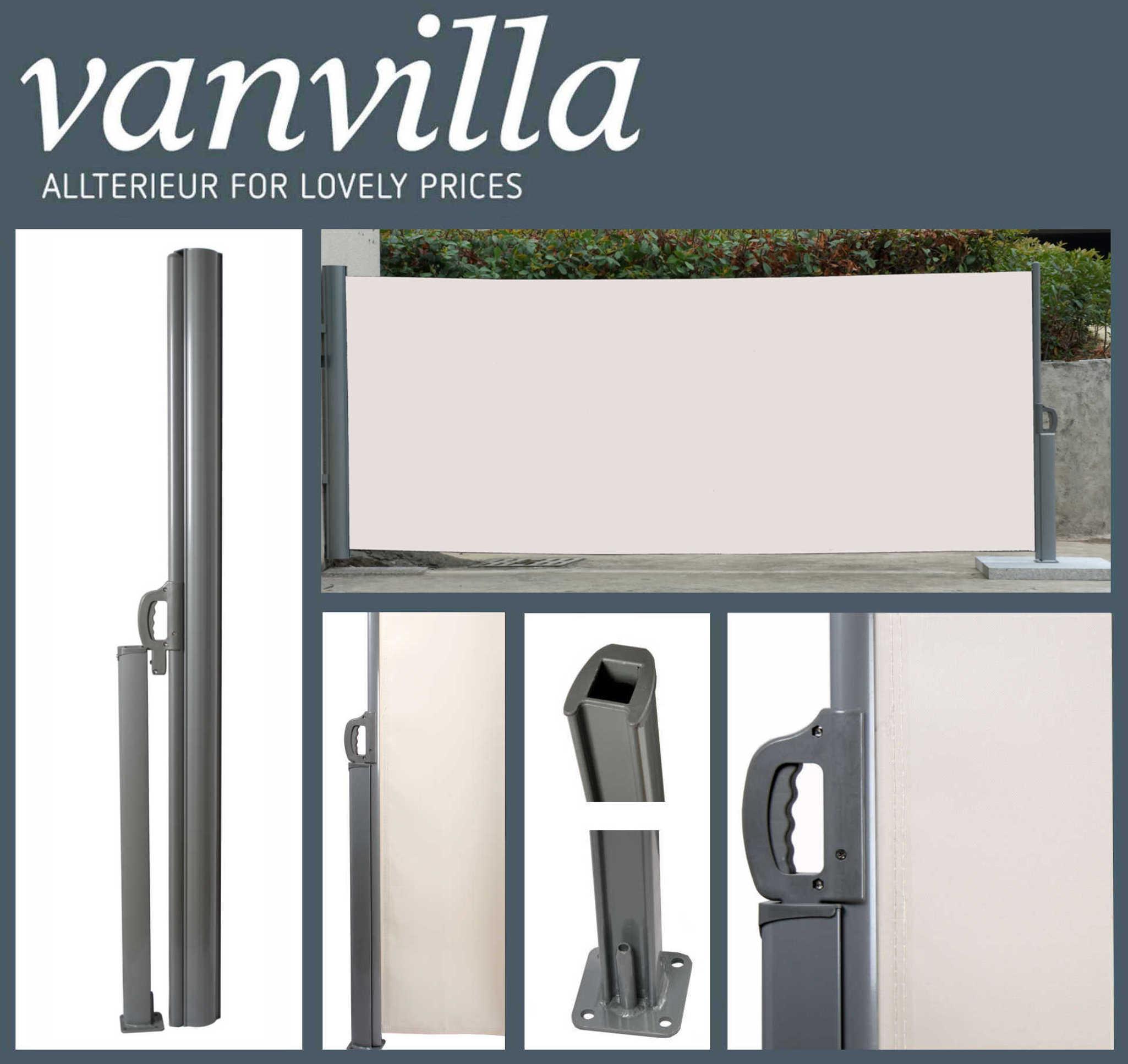 vanvilla Seitenmarkise 180cm x 300cm, Silber/Beige