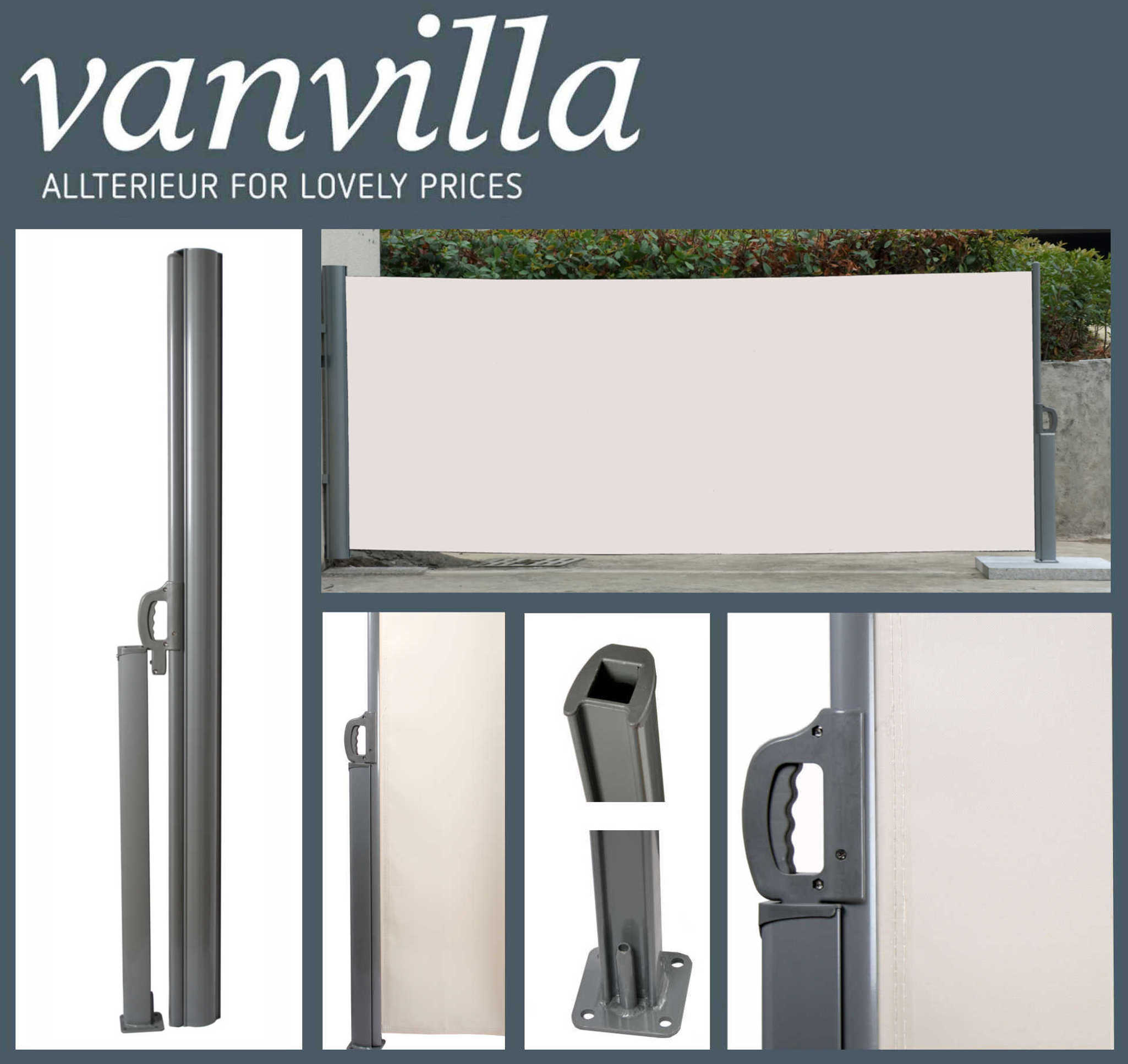 vanvilla Seitenmarkise 200cm x 300cm, Silber/Beige