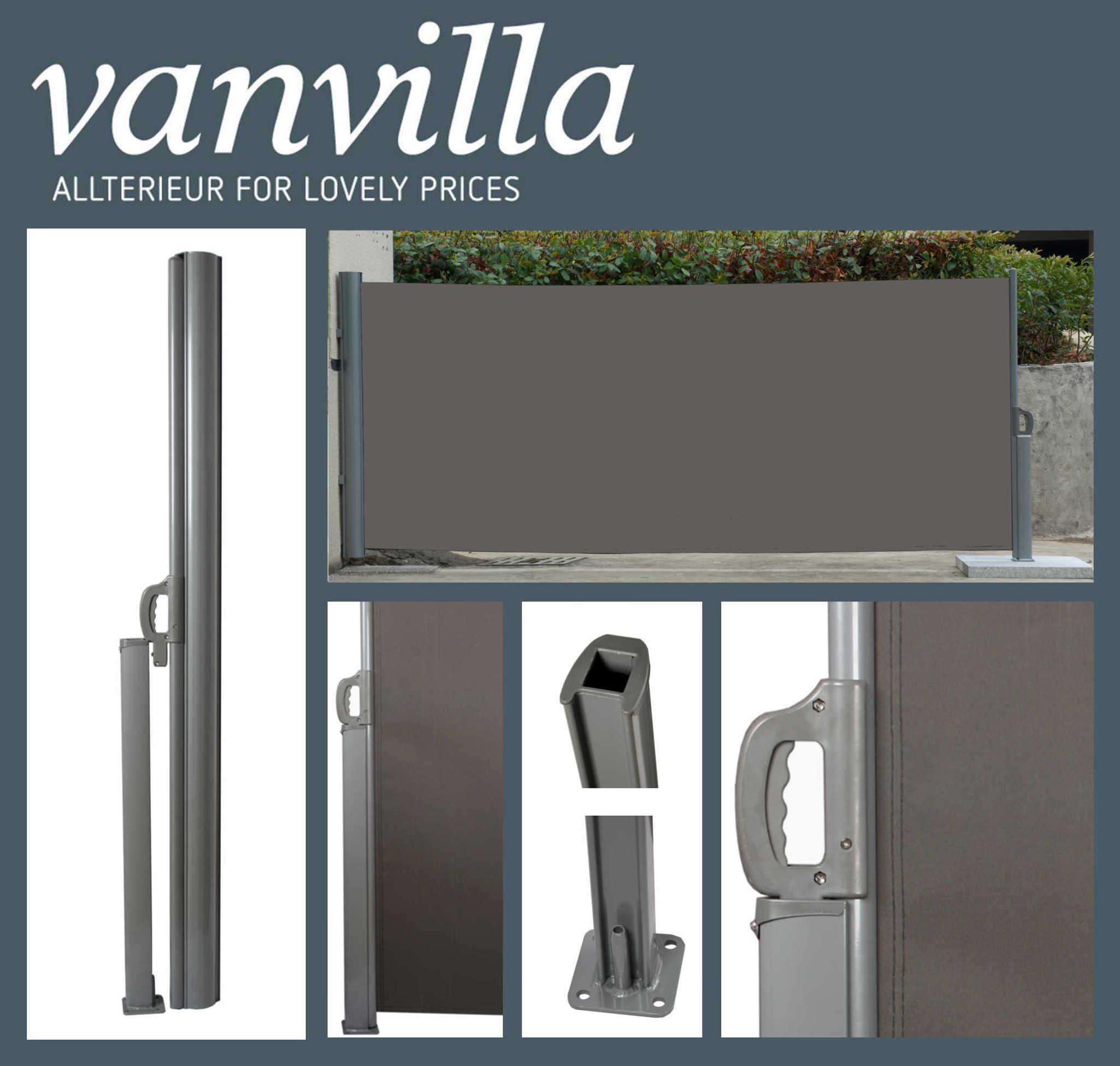 vanvilla Seitenmarkise 160cm x 300cm, Silber/Anthrazit