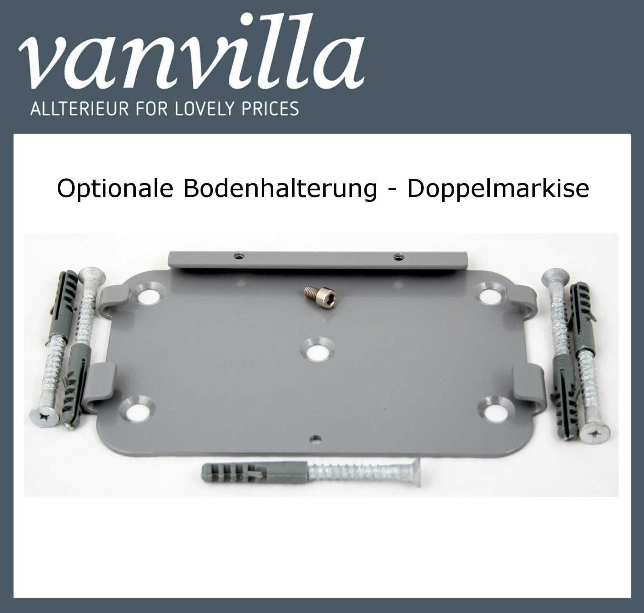 vanvilla Bodenhalterung für Doppelmarkise (Kassette) Silber