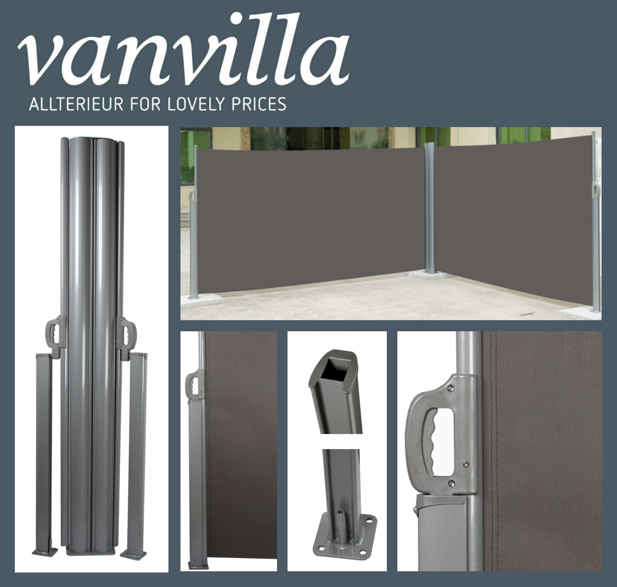 vanvilla Seitenmarkise 120cm x 600cm, Doppel, Silber/Anthrazit