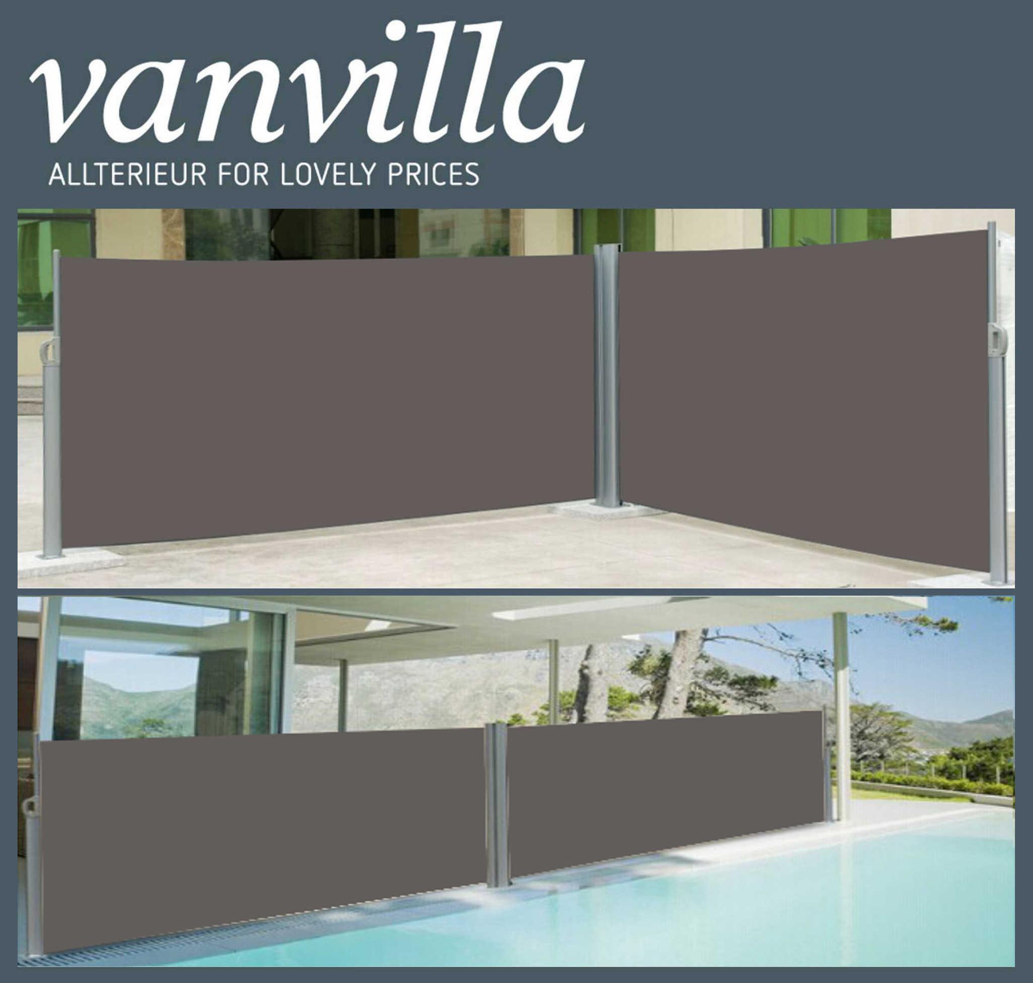 vanvilla Seitenmarkise 160cm x 600cm, Doppel, Silber/Anthrazit