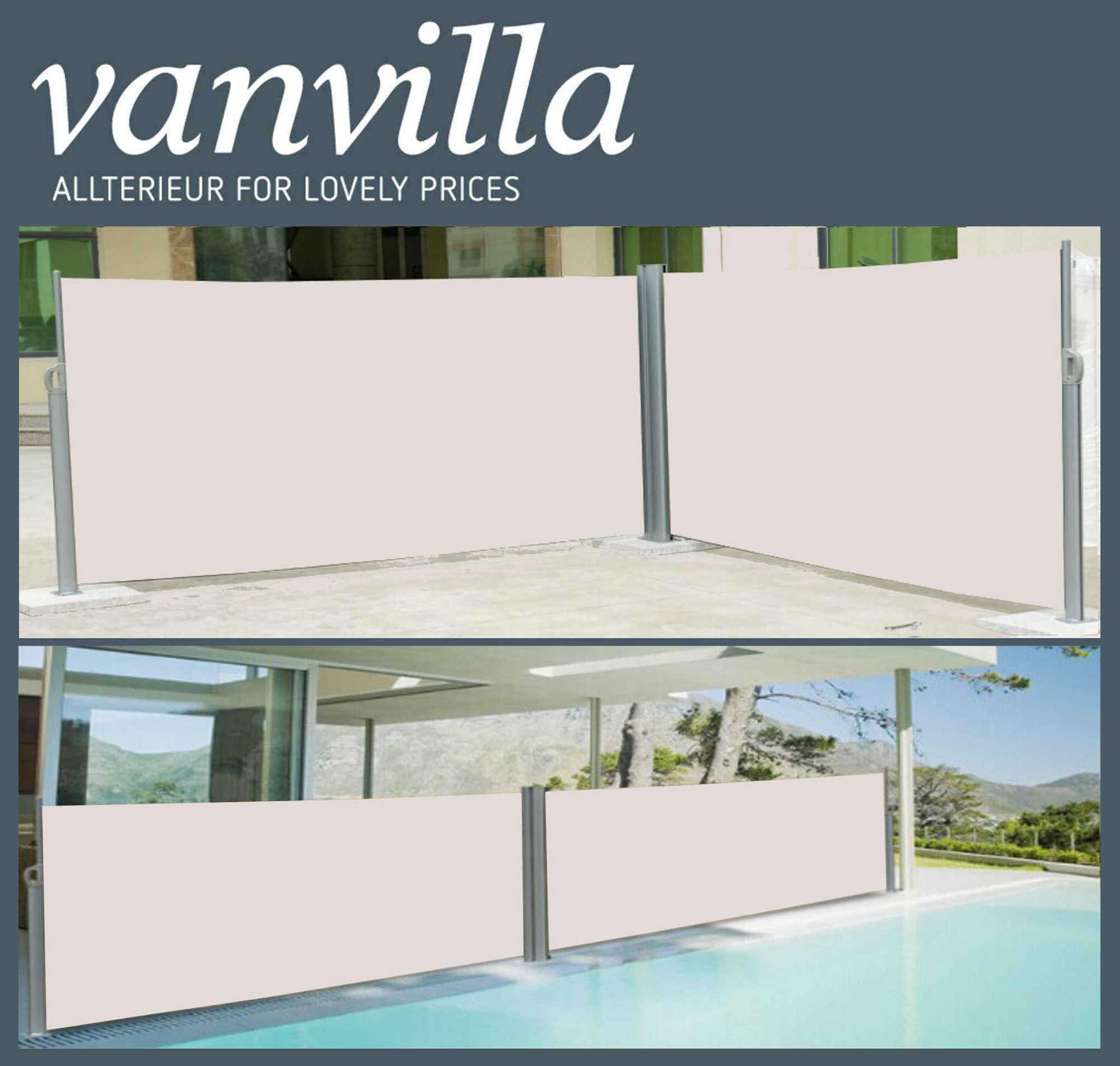 vanvilla Seitenmarkise 160cm x 600cm, Doppel, Silber/Beige