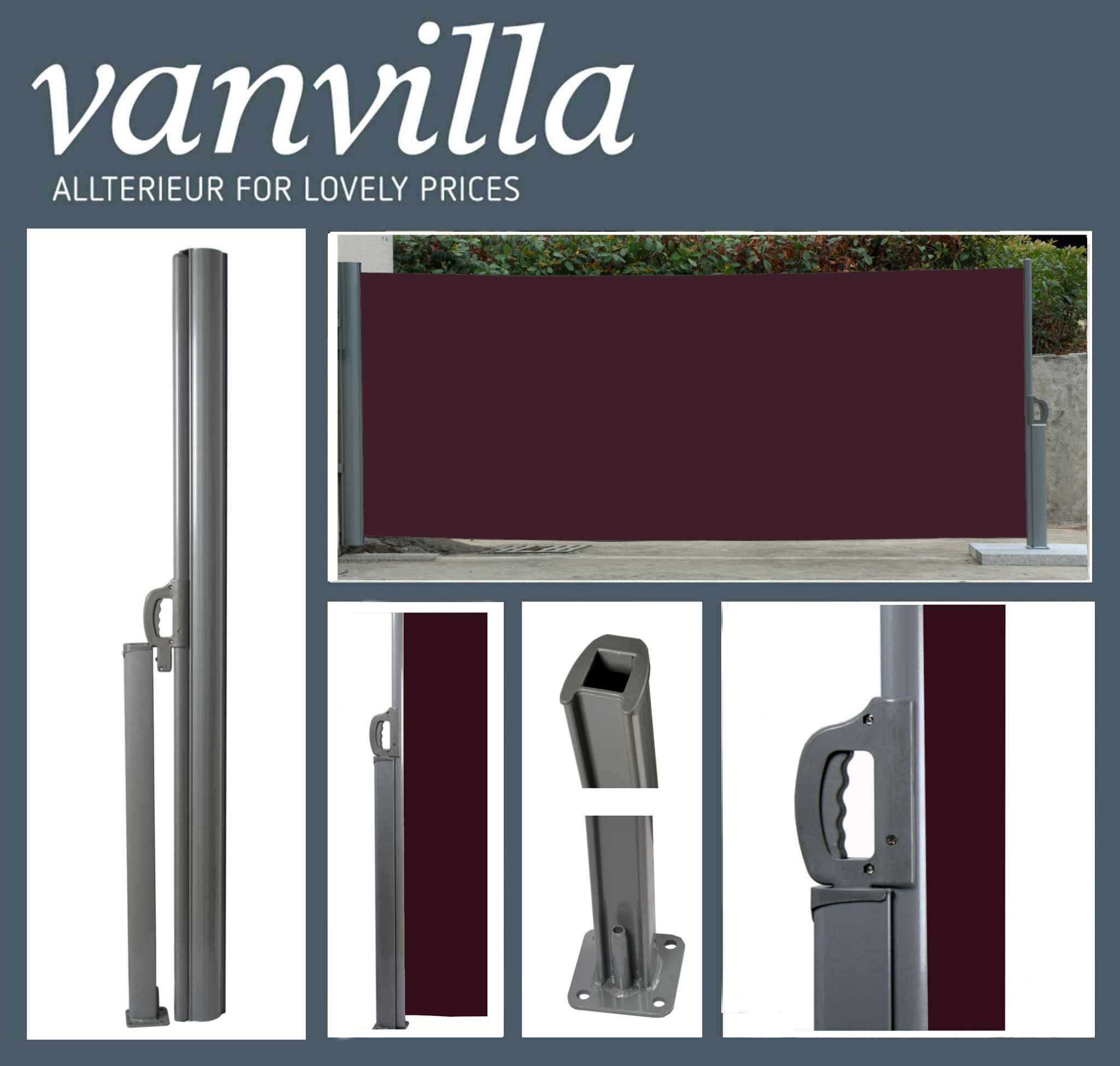 vanvilla Seitenmarkise 180cm x 300cm, Silber/Bordeaux