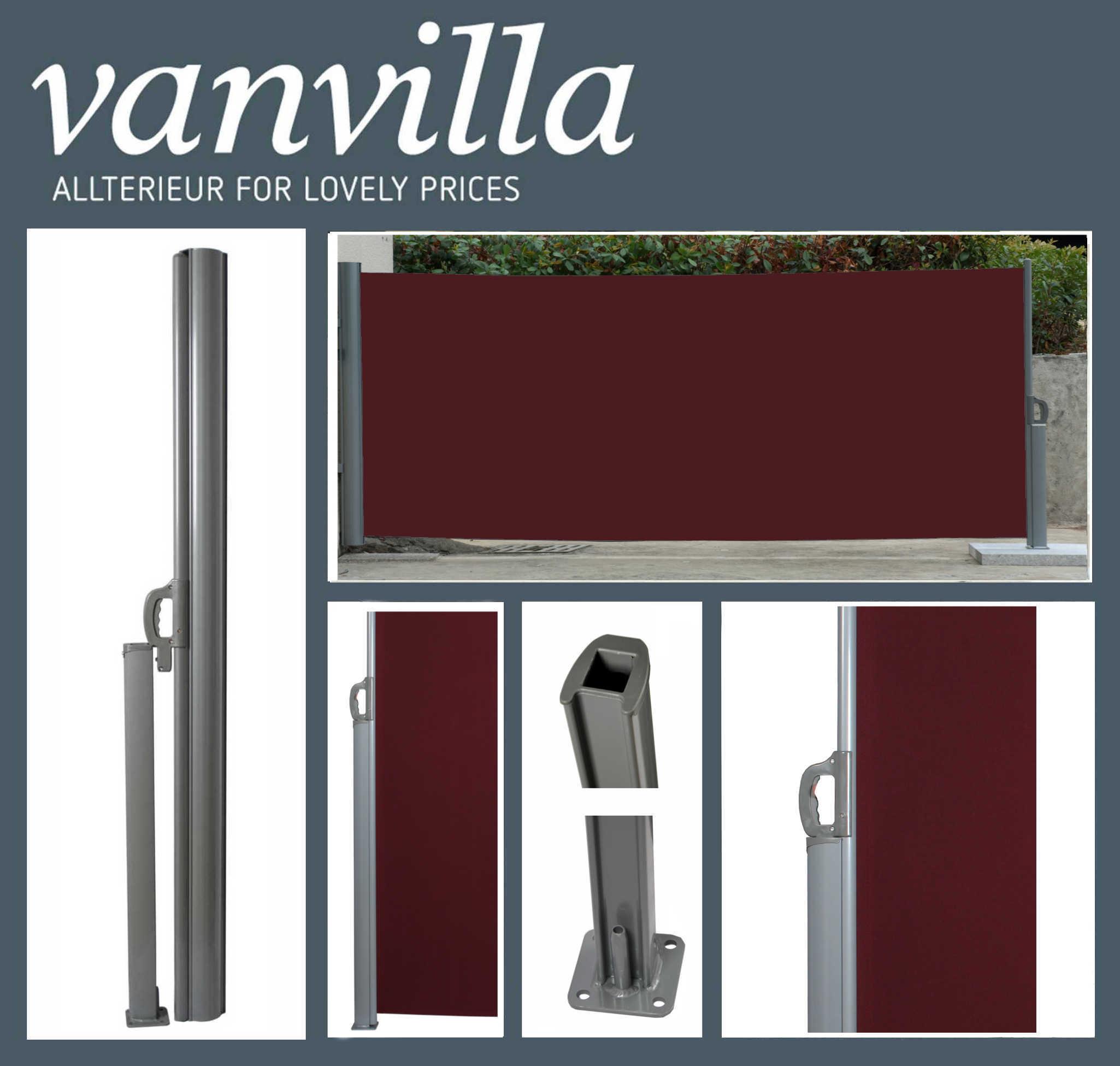 vanvilla Seitenmarkise  200cm x 300cm, Silber/Bordeaux