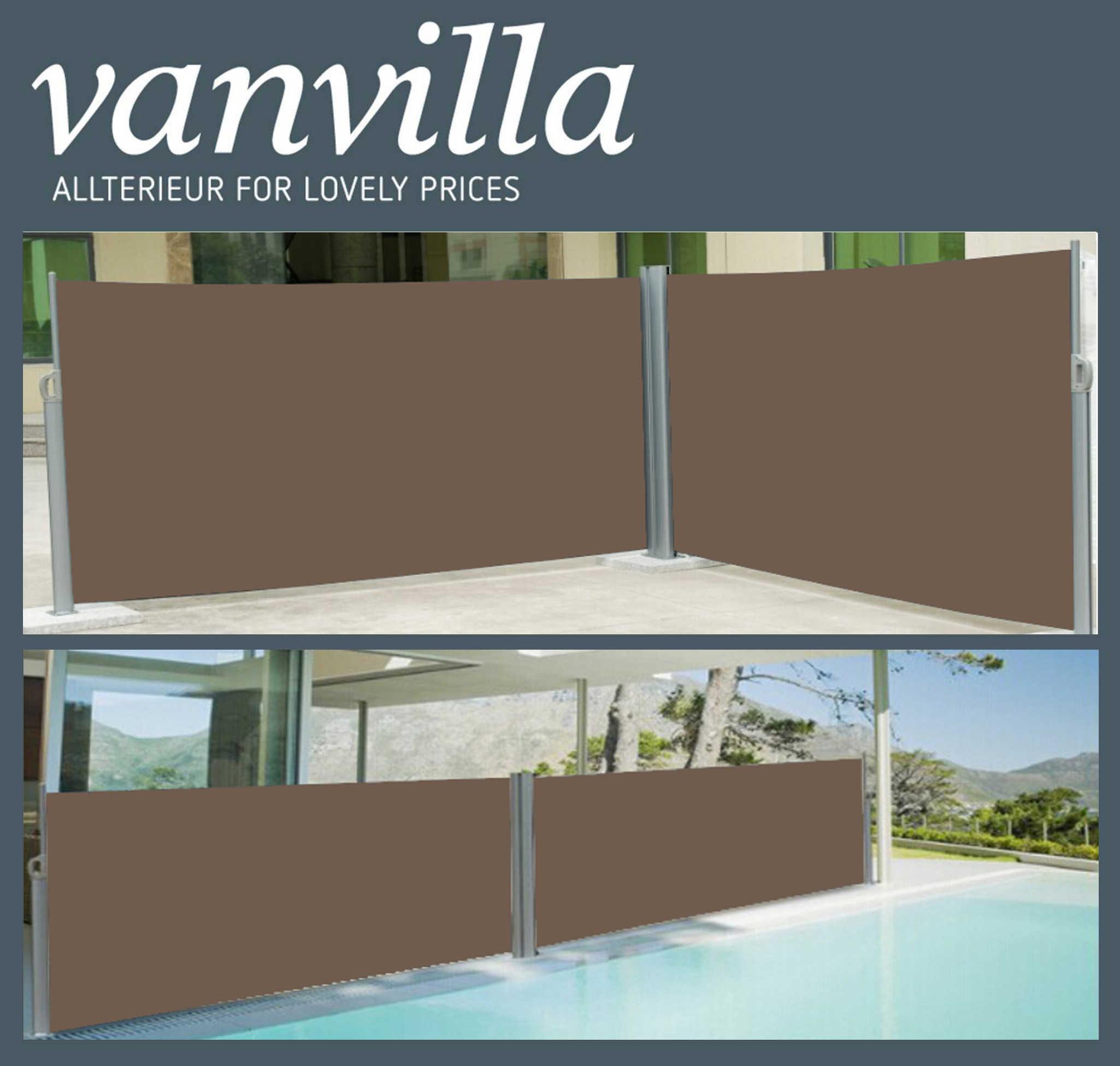 vanvilla Seitenmarkise 180cm x 600cm, Doppel, Silber/Braun