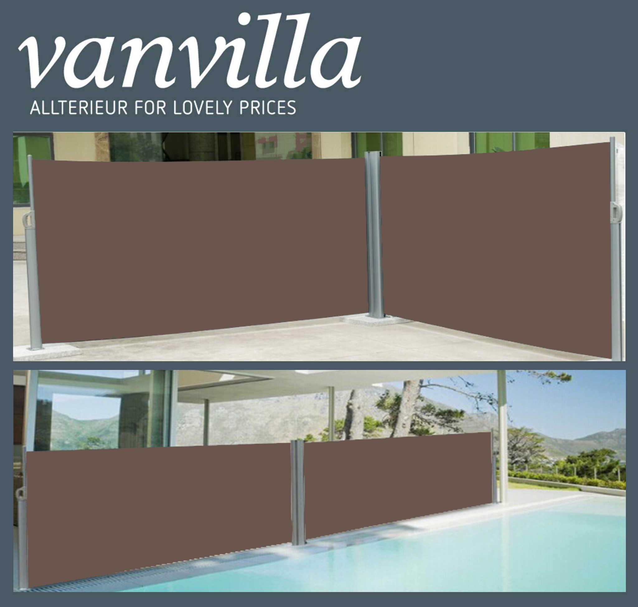vanvilla Seitenmarkise 200cm x 600cm, Doppel, Silber/Braun