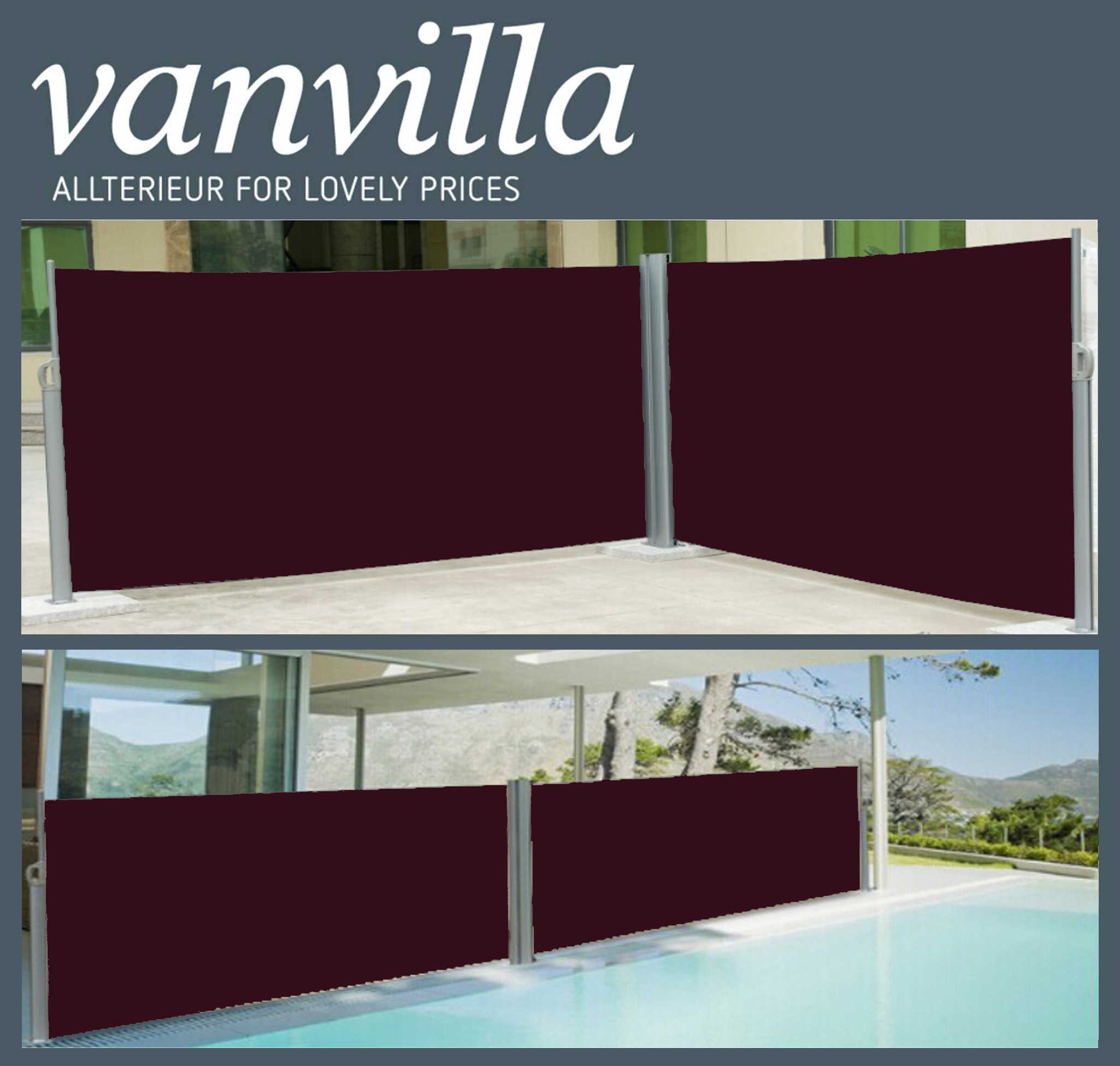vanvilla Seitenmarkise 180cm x 600cm, Doppel, Silber/Bordeaux