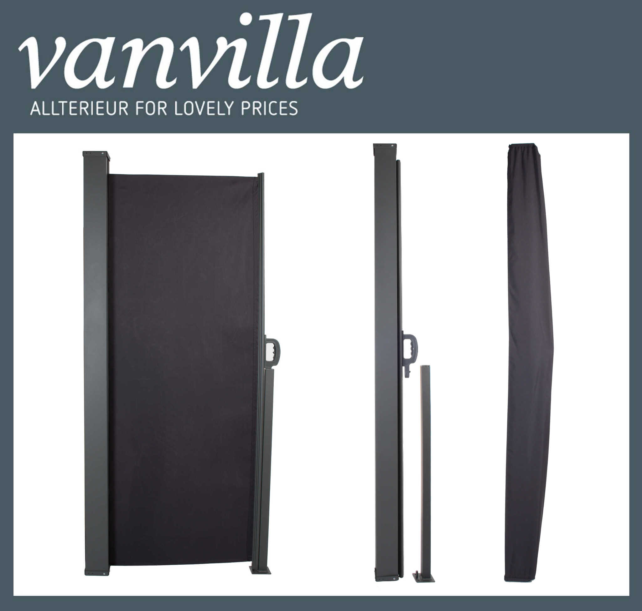 vanvilla Seitenmarkise 160cm x 300cm, Stahlkassette Anthrazit inkl. Regenschutz