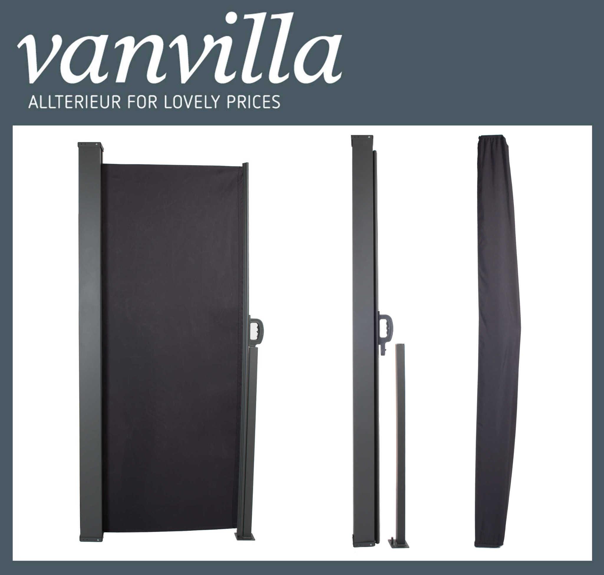 vanvilla Seitenmarkise 180cm x 300cm, Stahlkassette Anthrazit inkl. Regenschutz