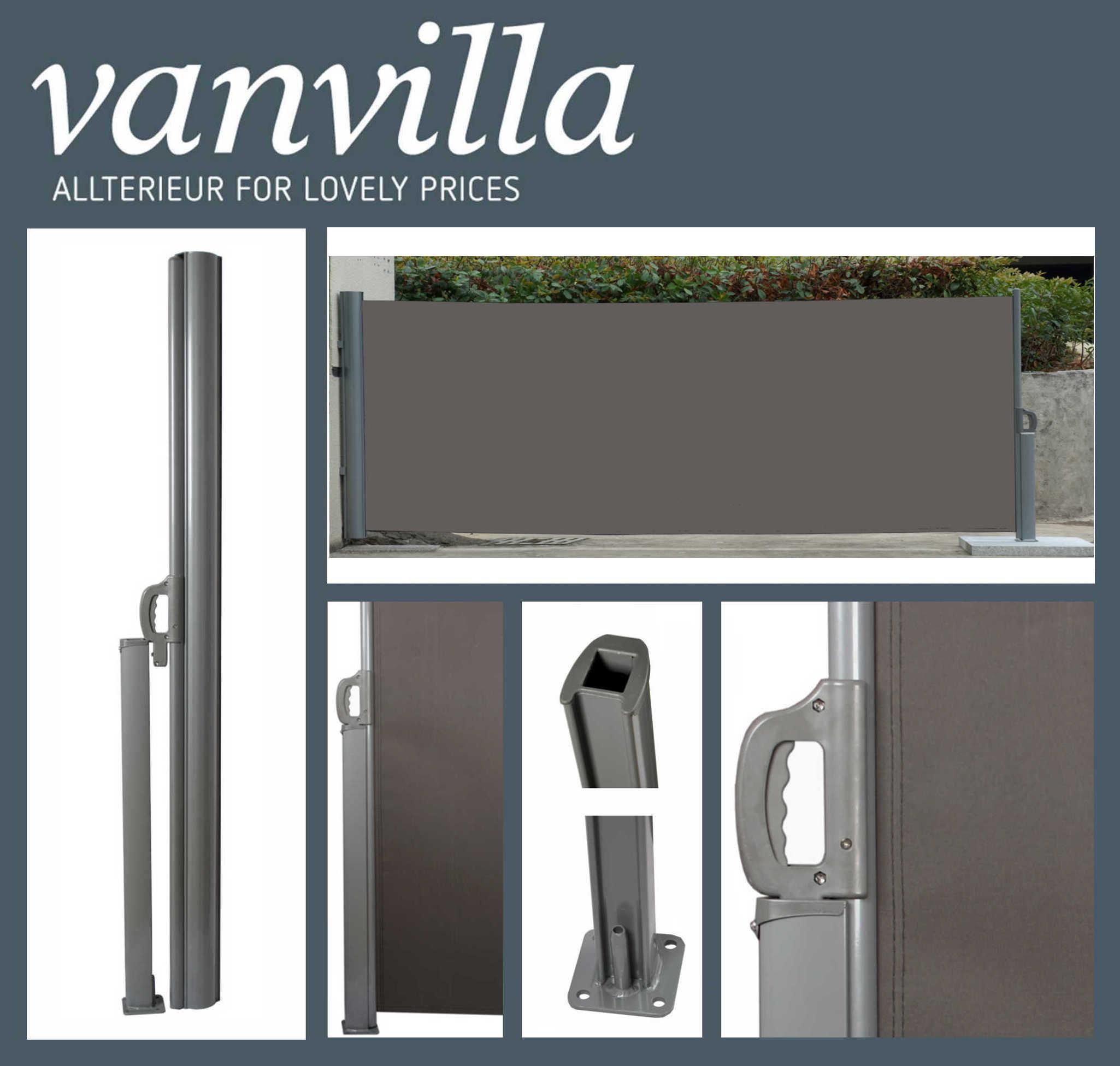 vanvilla Seitenmarkise 120cm x 300cm, Silber/Anthrazit