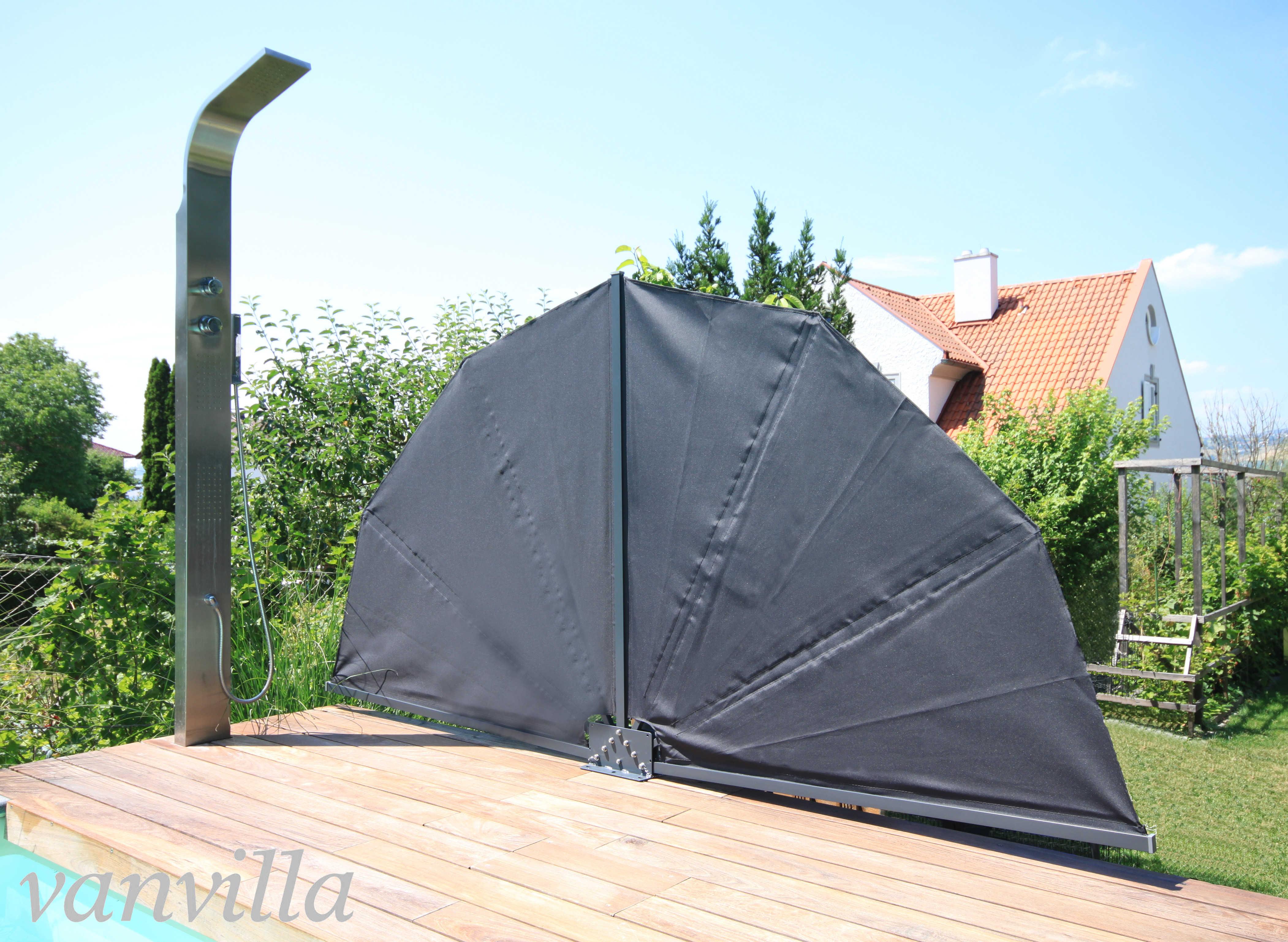 vanvilla Sichtschutz faltbar RUND 140cm x 280cm, Anthrazitgrau RAL 7016