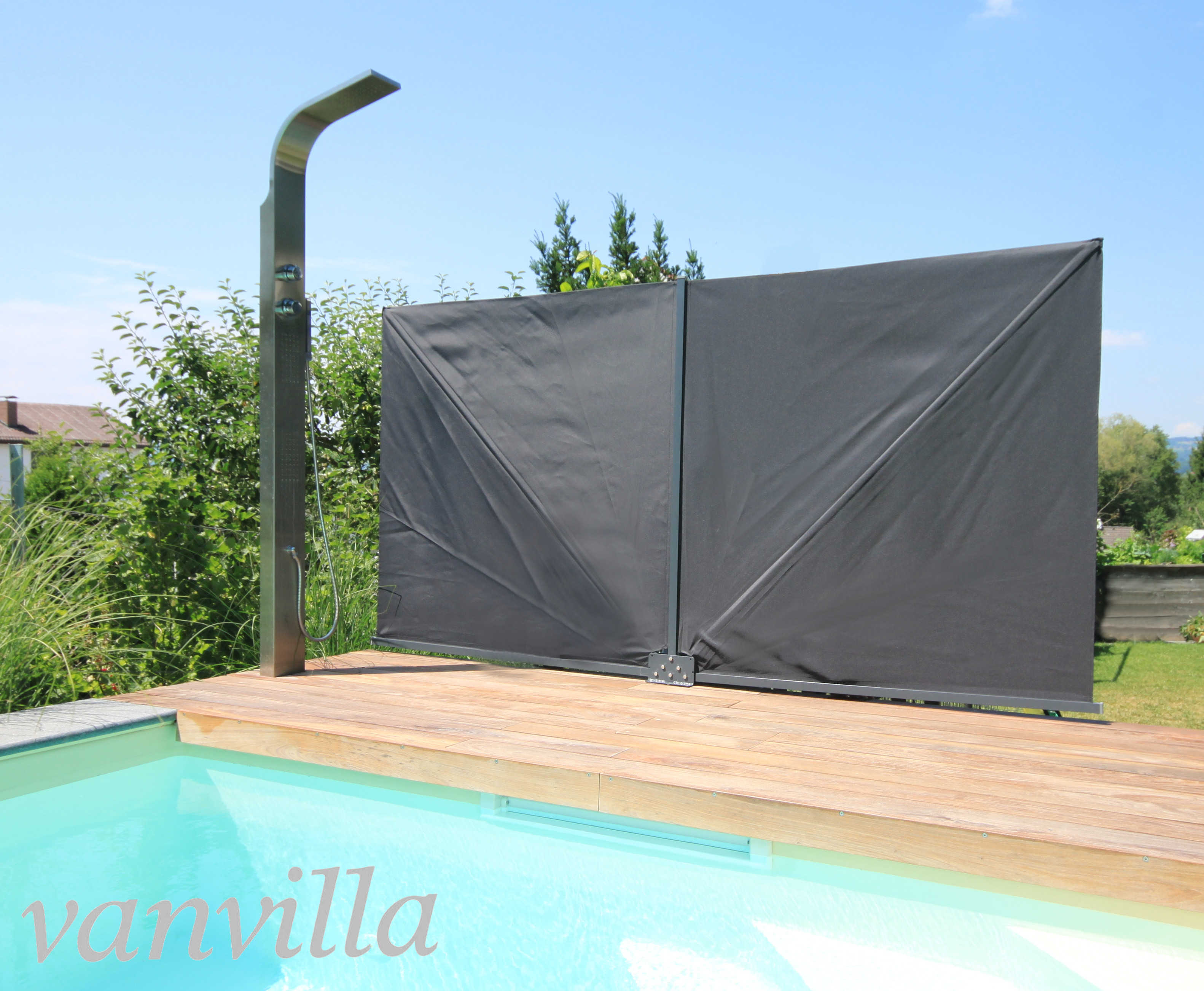 Vanvilla Sichtschutz Faltbar Eckig 140cm X 280cm Anthrazitgrau