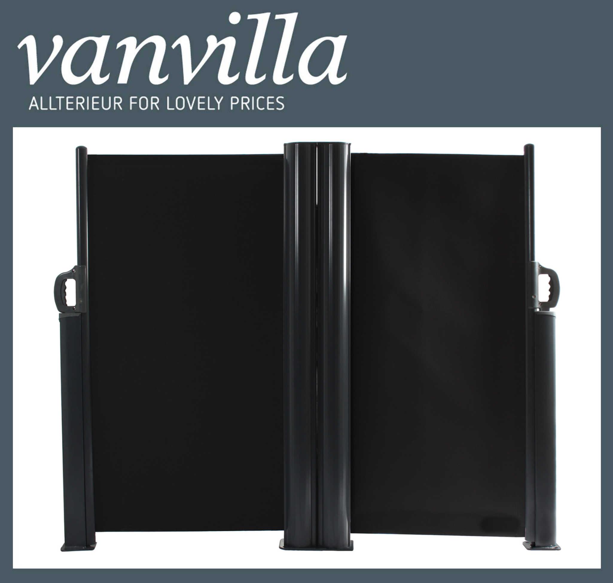 vanvilla Seitenmarkise 120cm x 600cm, Doppel, Anthrazitgrau RAL 7016