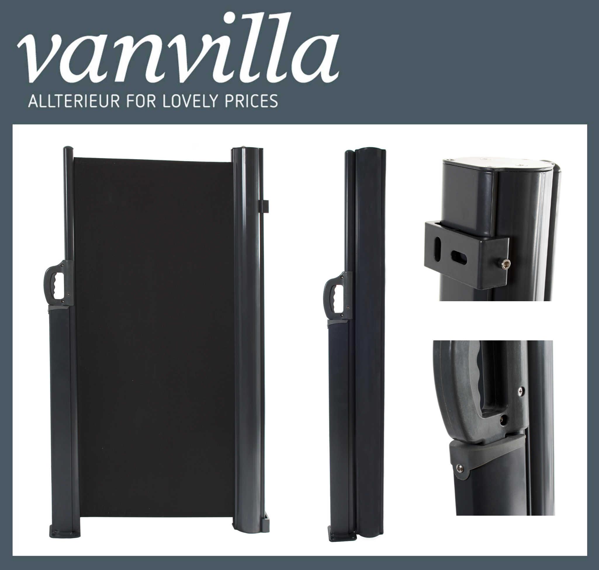 vanvilla Seitenmarkise 100cm x 300cm, Anthrazitgrau RAL 7016