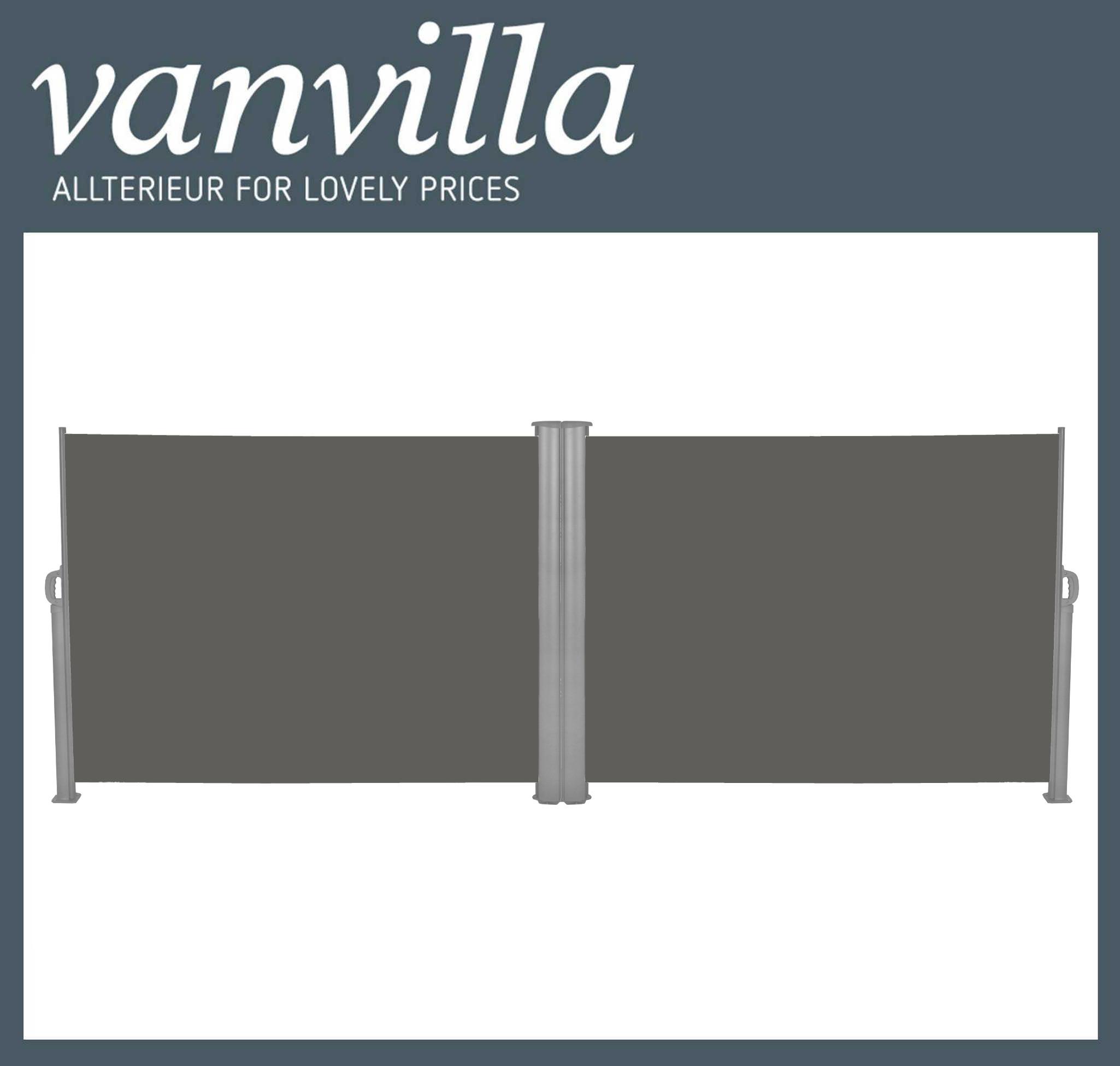 vanvilla Seitenmarkise 180cm x 600cm, Doppelmarkise Grau/Anthrazit (2x Einzel mit Umbaukit)