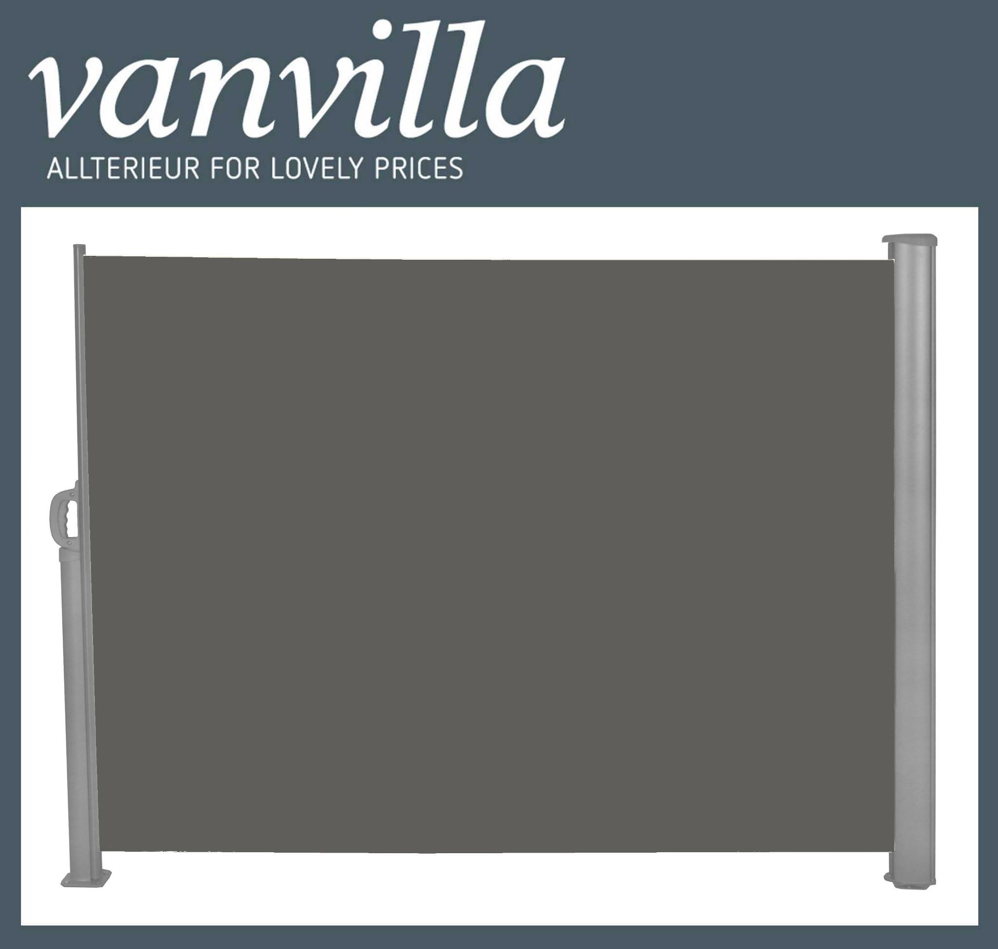 vanvilla Seitenmarkise 180cm x 300cm, Grau/Anthrazit