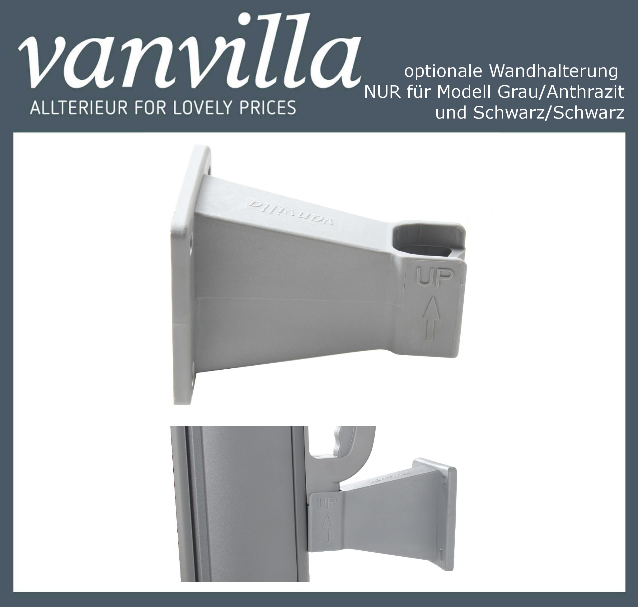 vanvilla Auszugsfixierung für Markise Modell Grau/Anthrazit & Schwarz/Schwarz