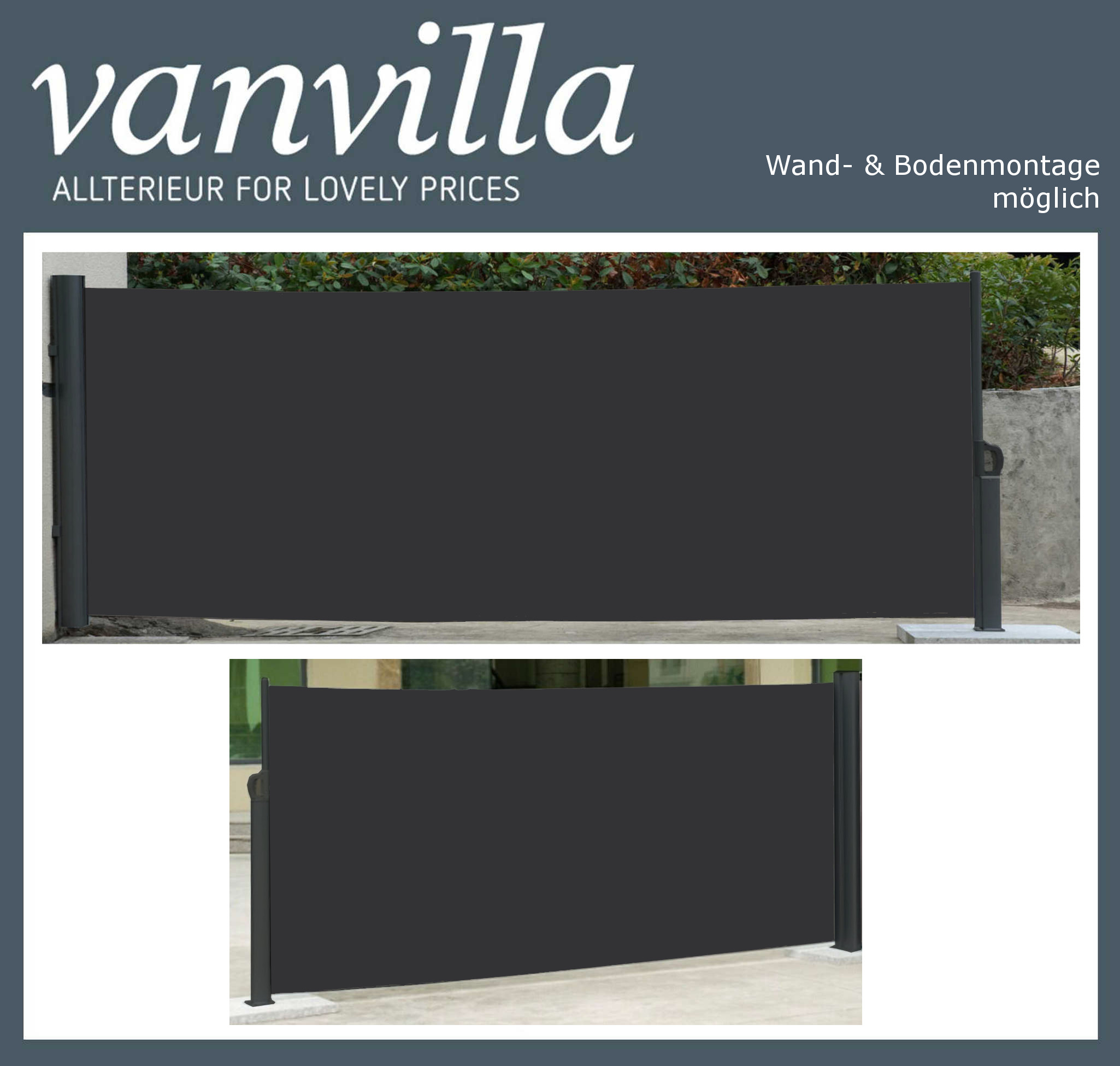 vanvilla Seitenmarkise 180cm x 300cm, Schwarz/Schwarz