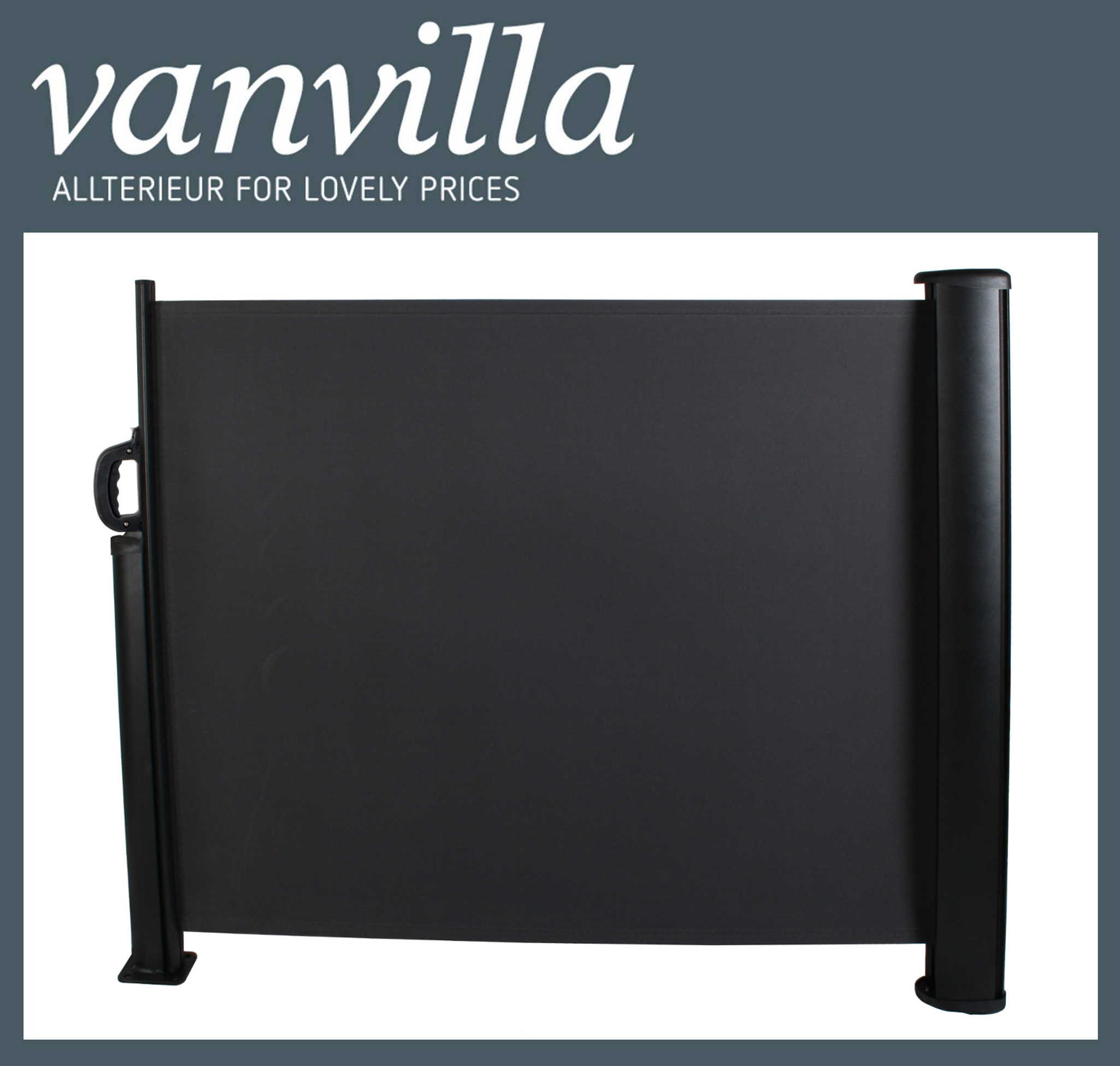 Vanvilla Seitenmarkise 120cm X 300cm Schwarz Schwarz