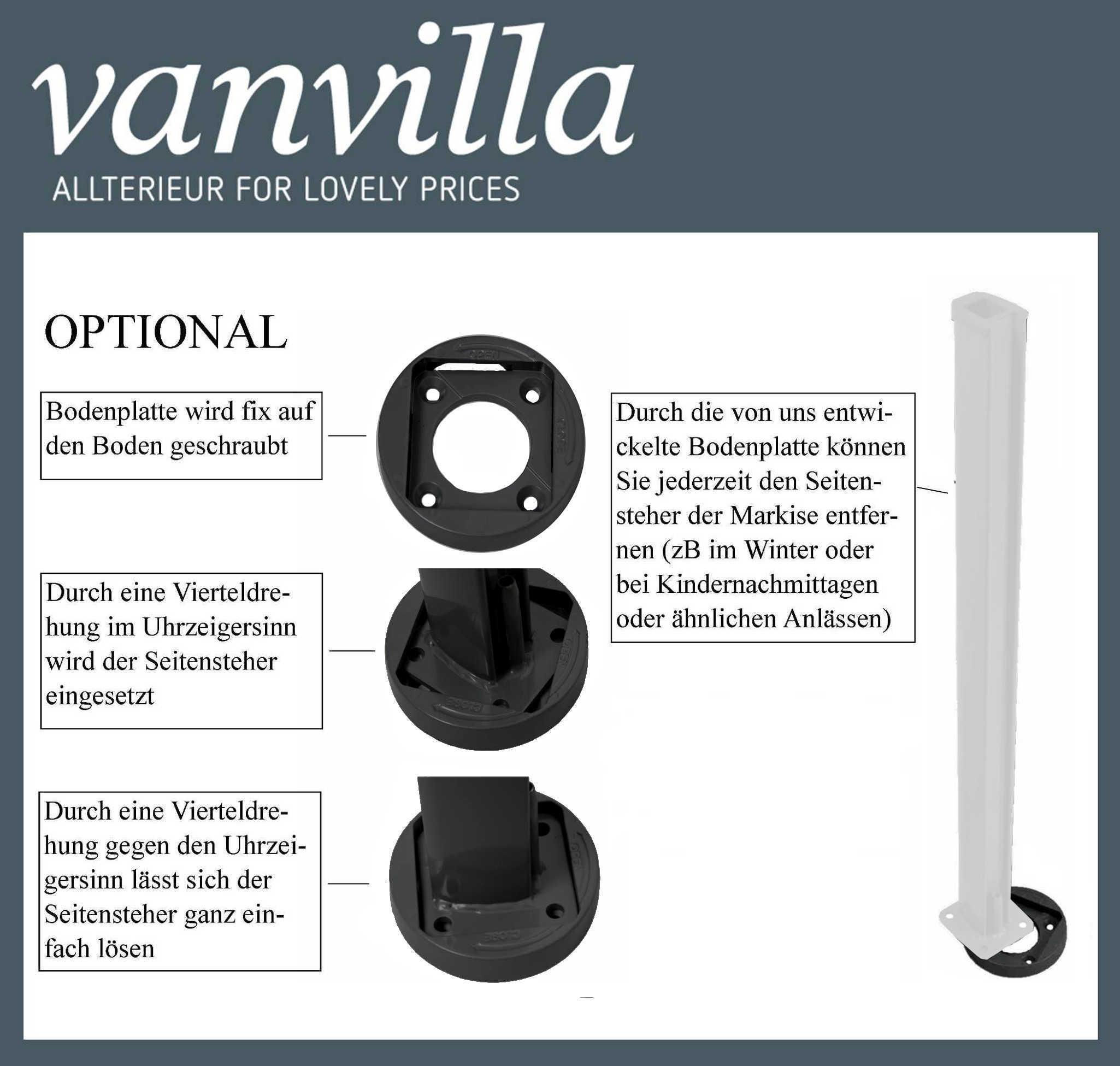 vanvilla Bodenhalterung für Auszug Seitenmarkise RAL 7016