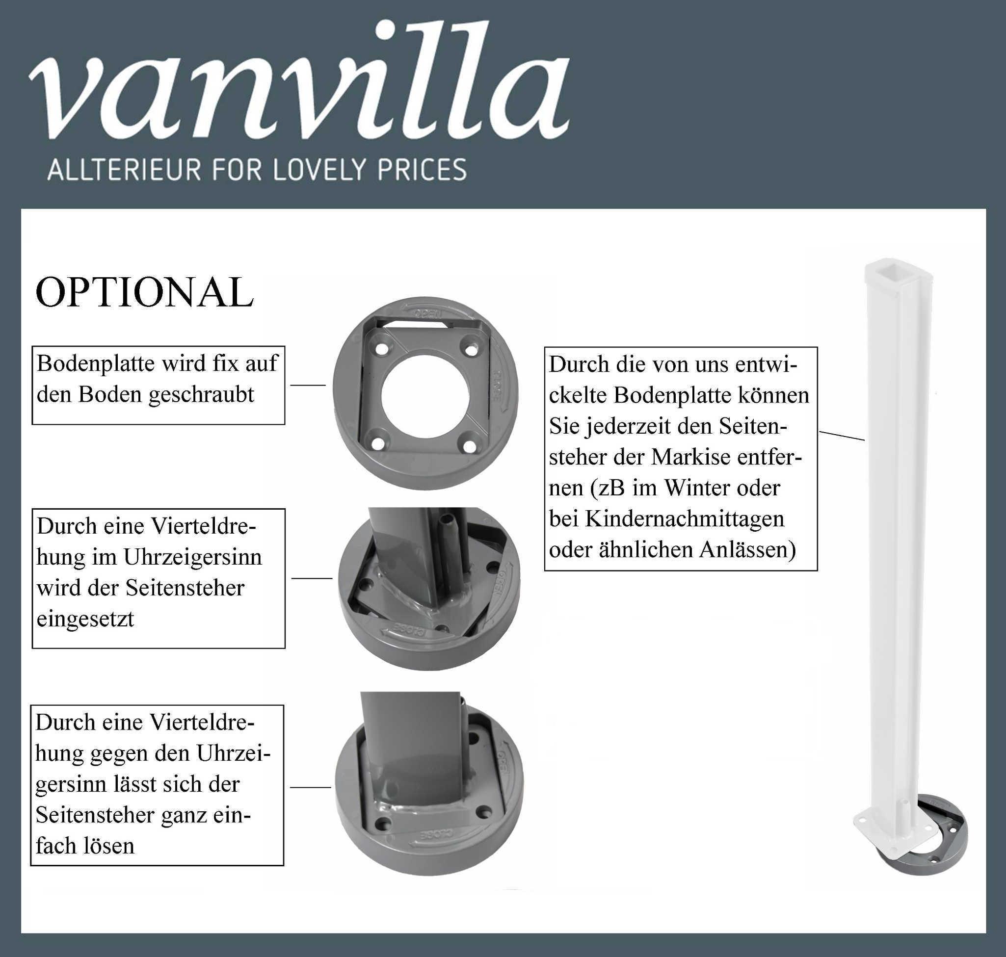 vanvilla Bodenhalterung für Auszug Seitenmarkise Silber