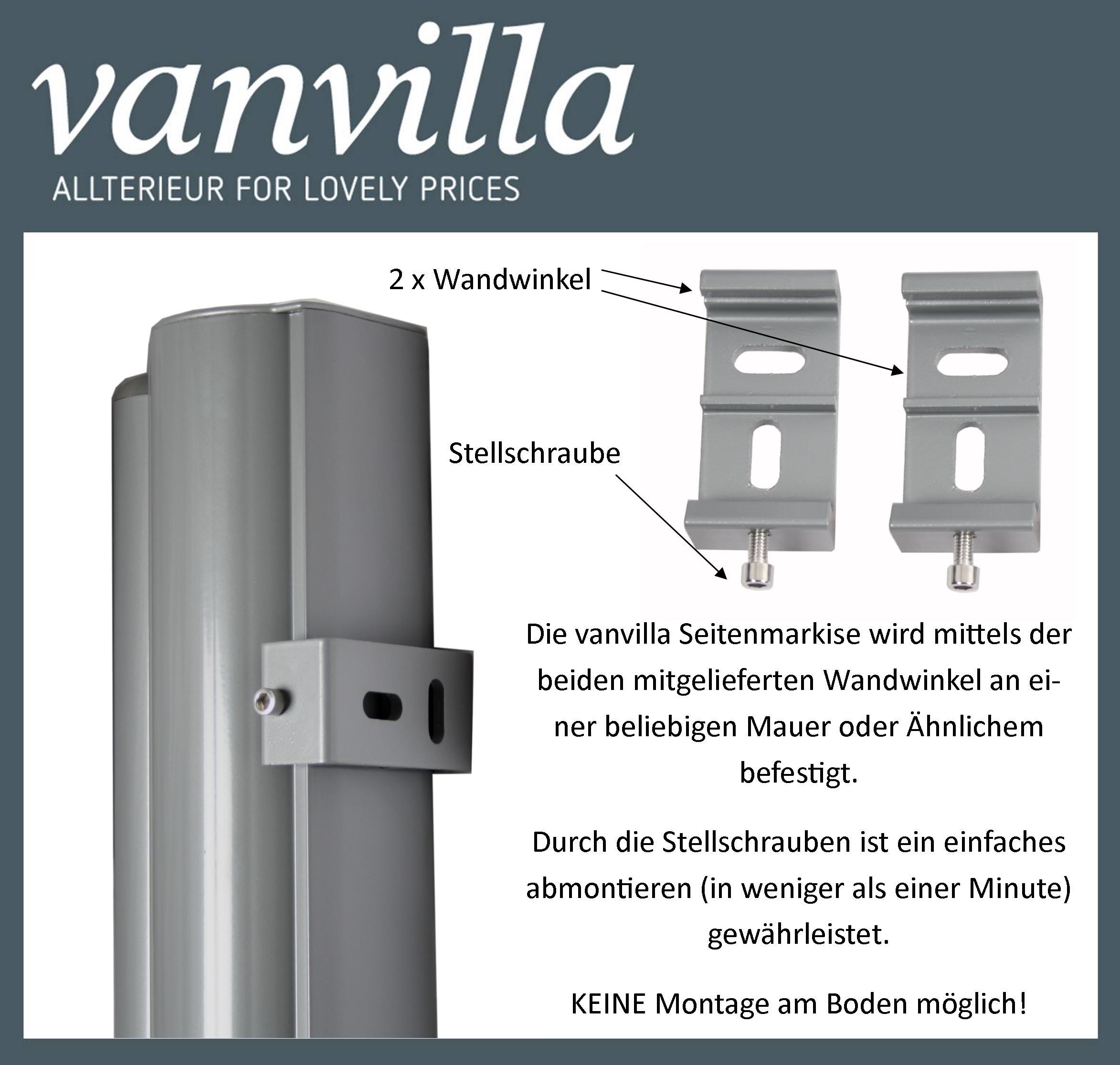 Vanvilla Seitenmarkise 180cm X 300cm Silber Bordeaux