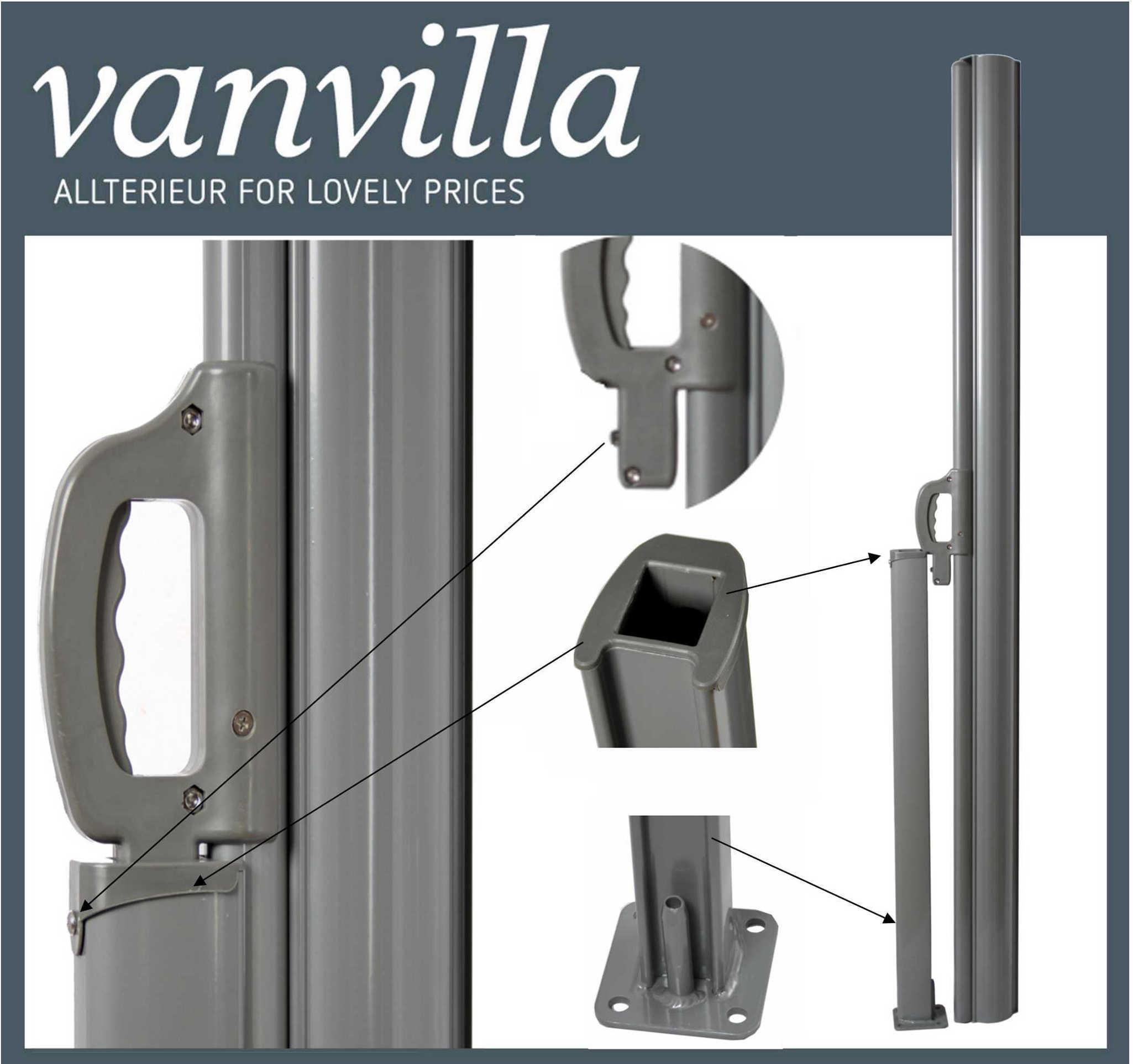 Vanvilla Seitenmarkise 180cm X 600cm Doppel Silber Anthrazit