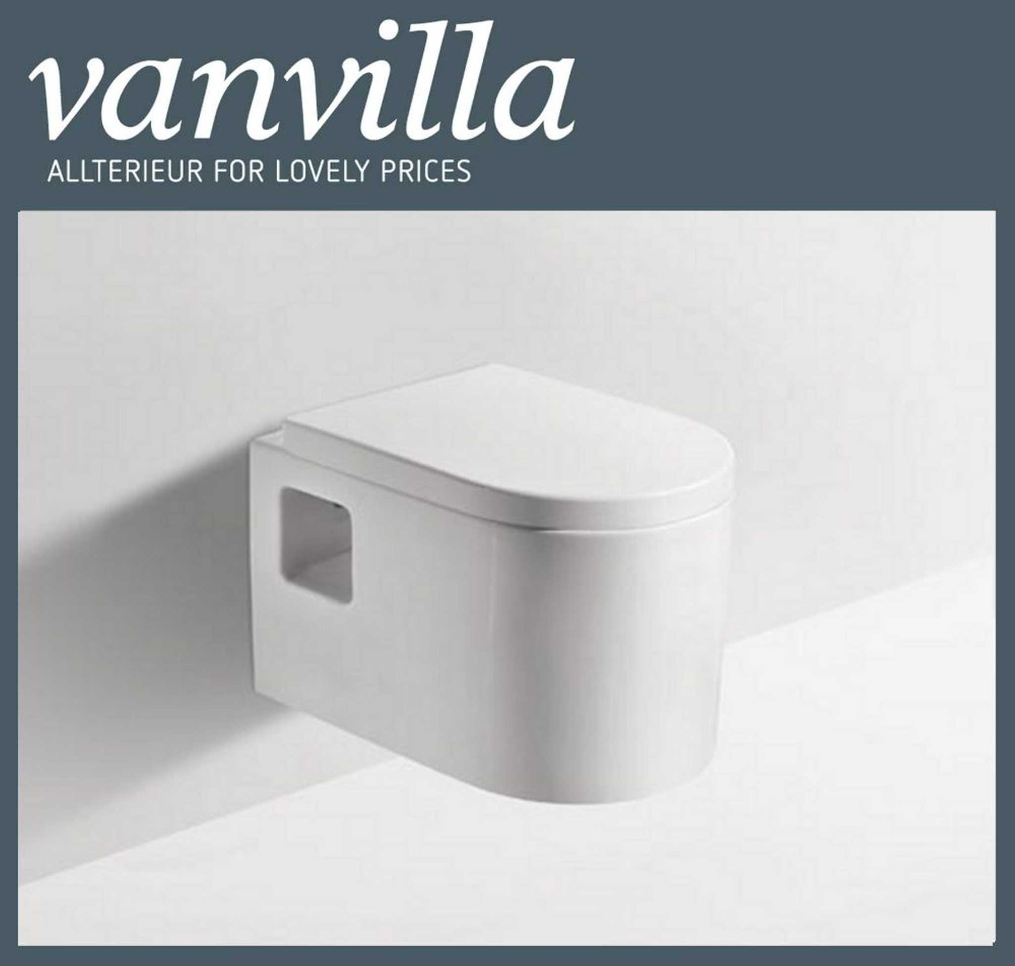 vanvilla Design Wand Hänge WC Toilette 837 inkl. Soft Close Absenkautomatik