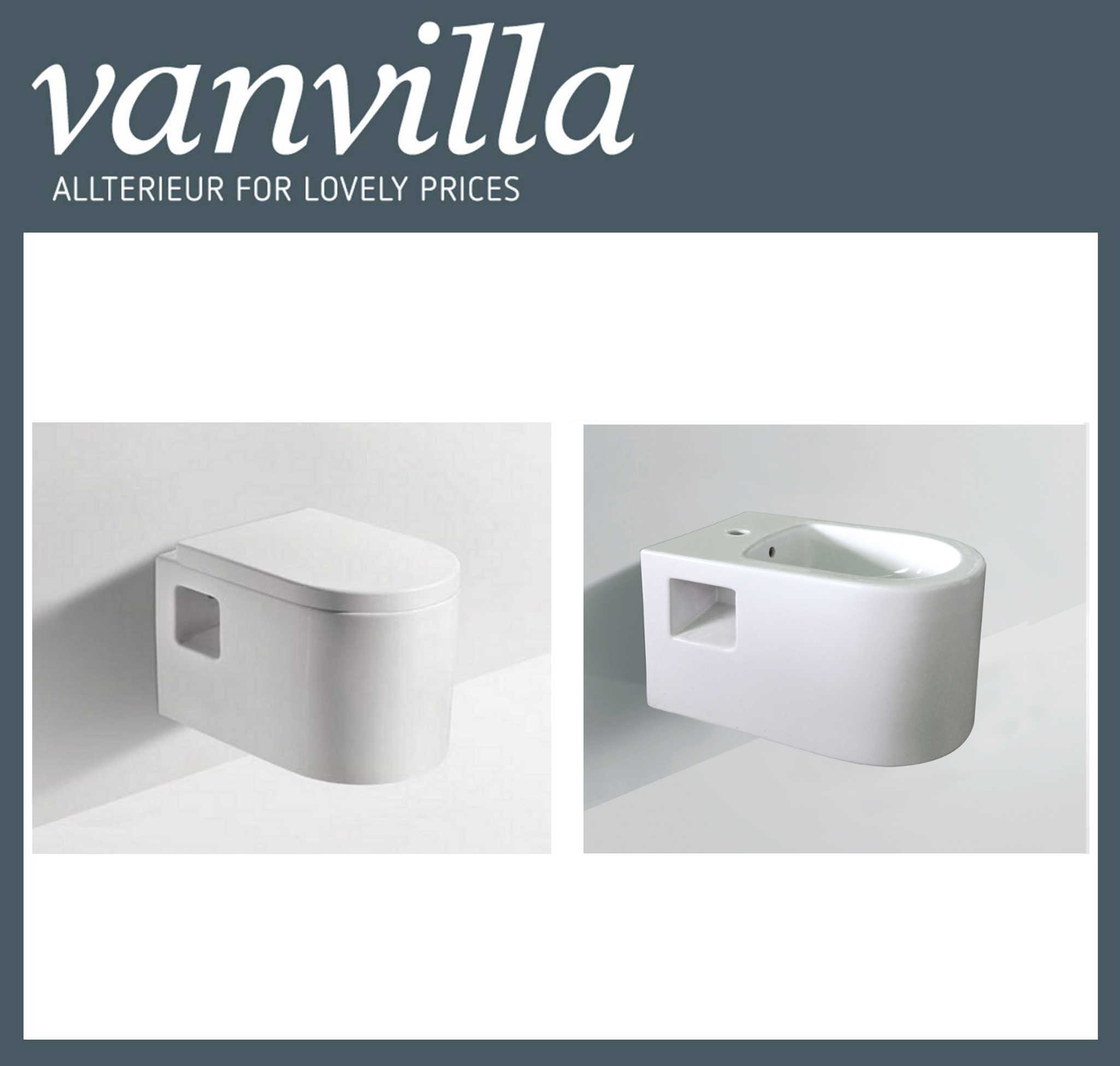 vanvilla Design Hänge WC837 + Bidet 837 SET