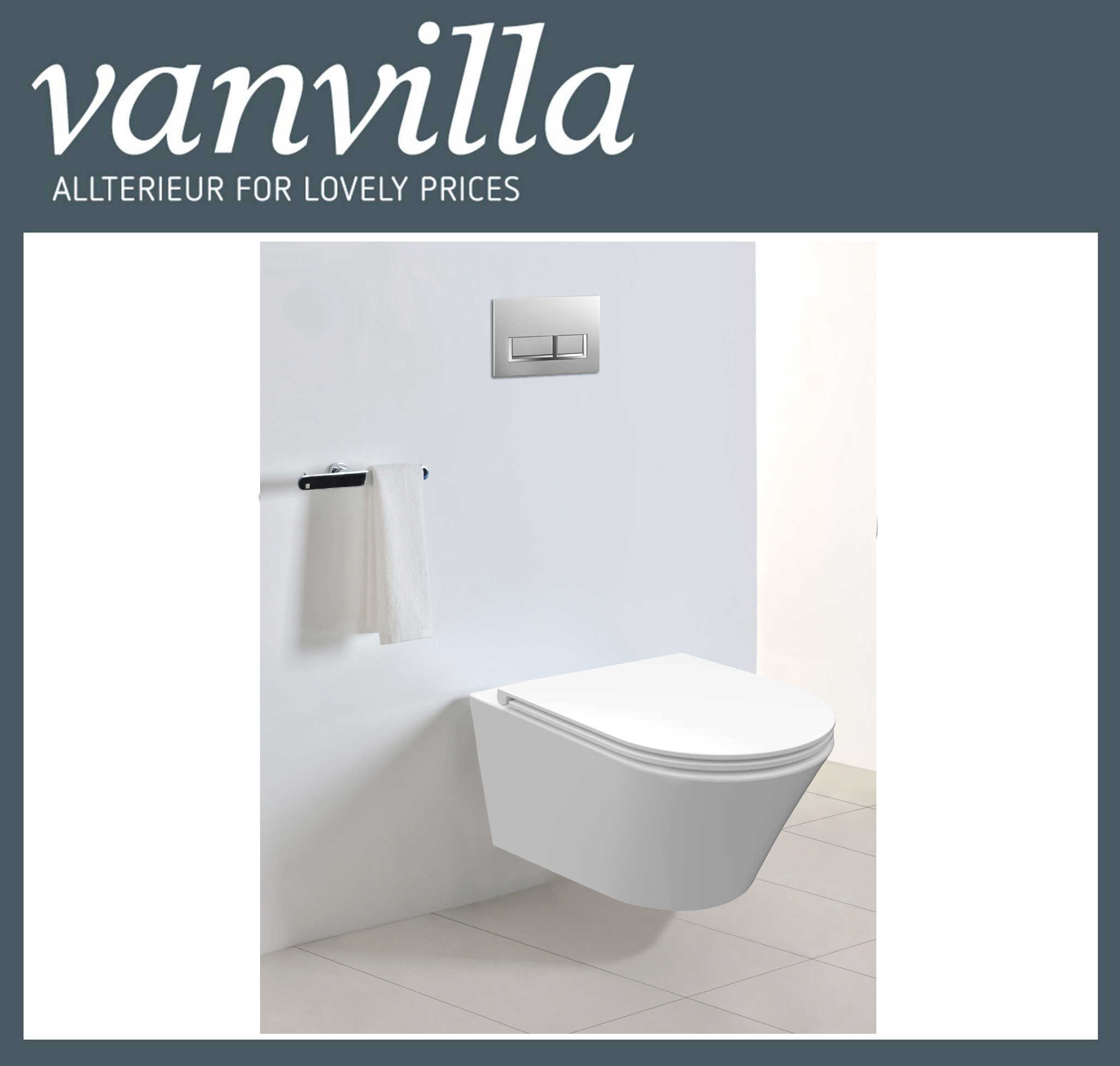 vanvilla Design Wand Hänge WC Luanda inkl. Soft close spülrandlos rimless