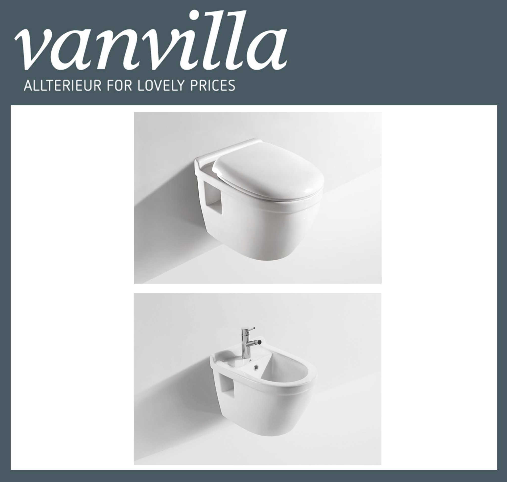 vanvilla Design Hänge WC809 + Bidet 809 SET