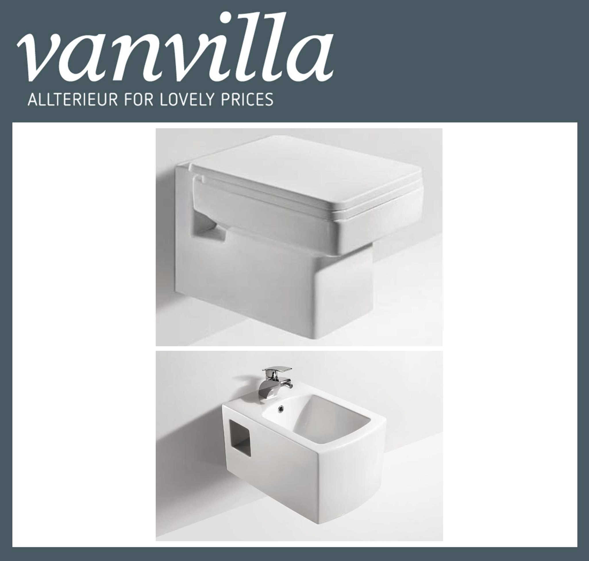 vanvilla Design Hänge WC835 + Bidet 834 SET