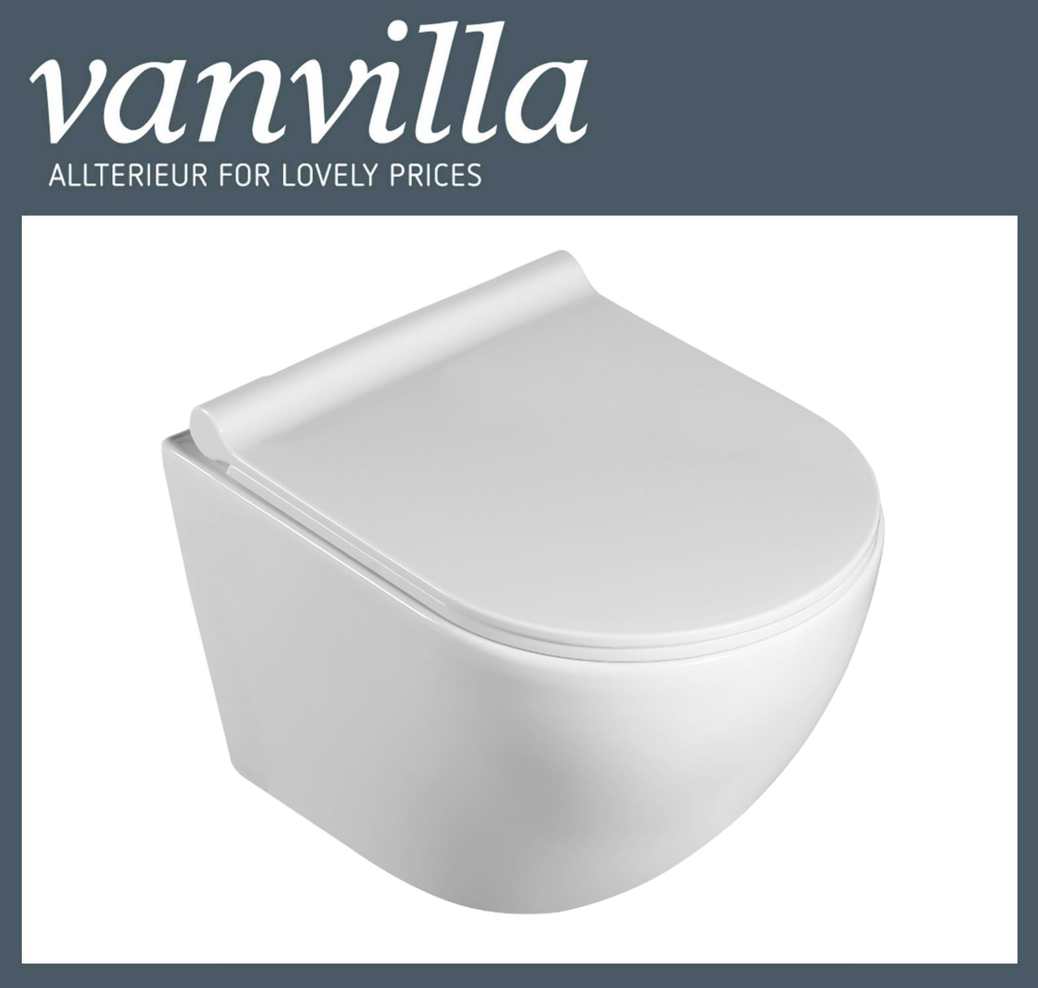 vanvilla Design Wand Hänge WC WH8002 inkl. Soft close spülrandlos rimless