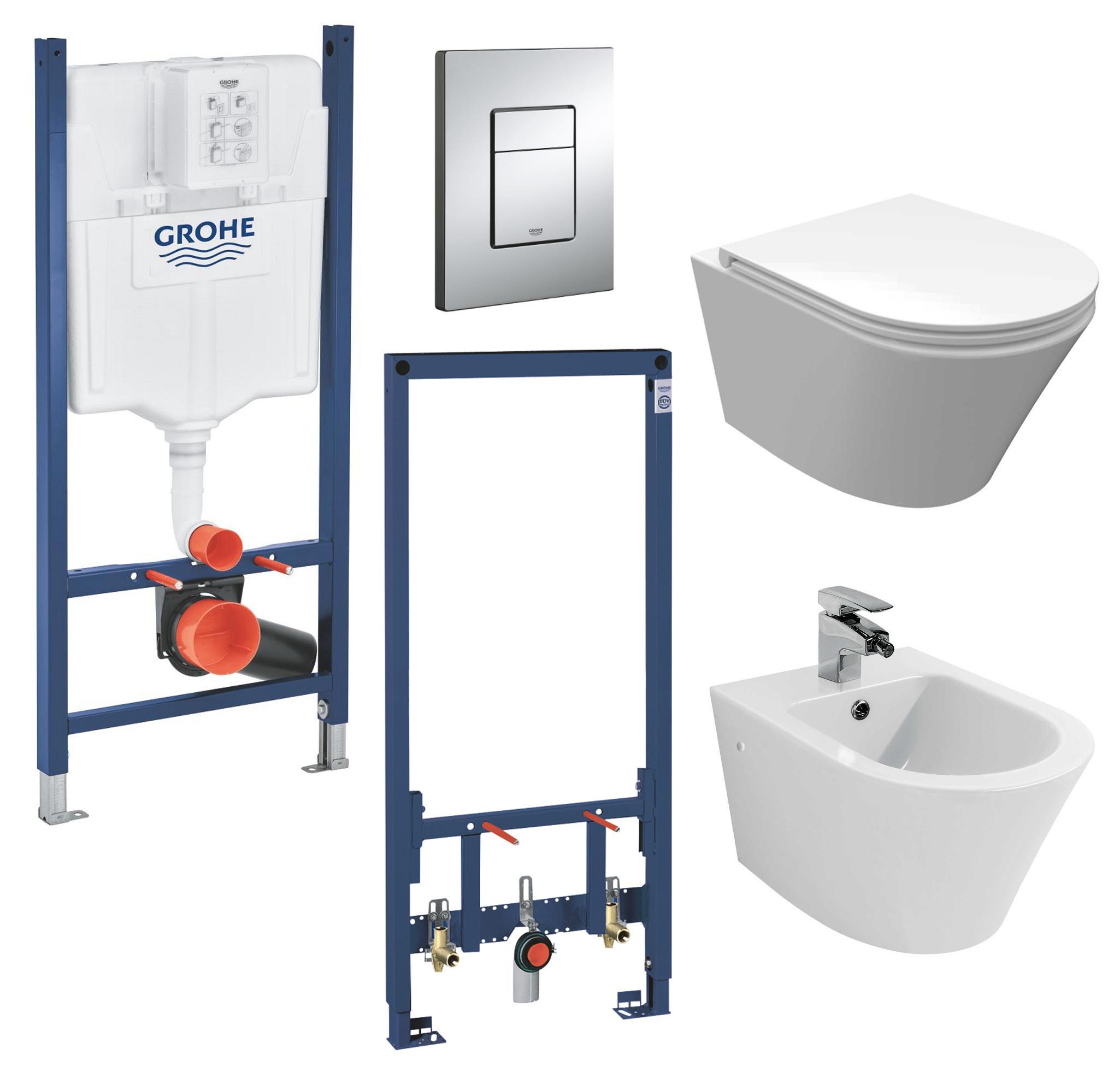 vanvilla WC spülrandlos rimless + Bidet Luanda + Grohe 38772001 + 38553001 SET