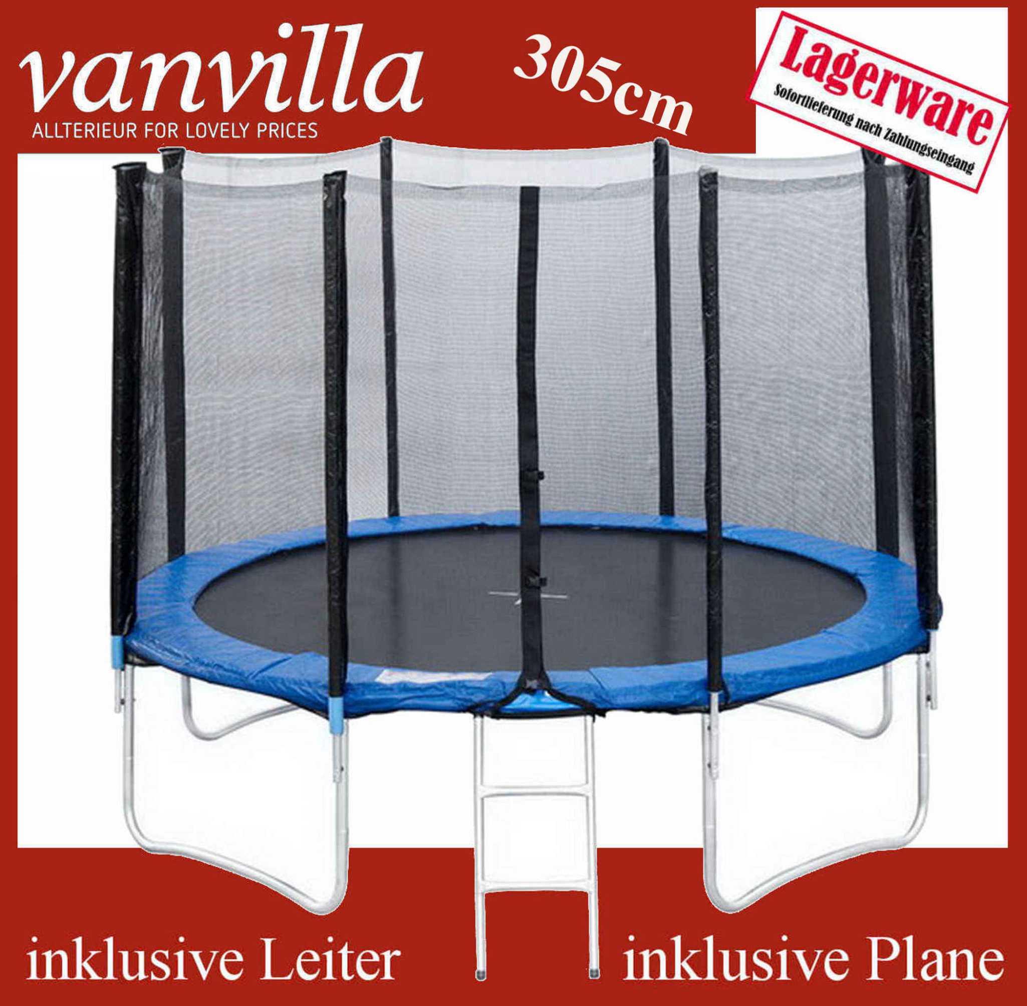 Trampolin 305cm, Leiter, Regenschutz, Sicherheitsnetz /2 Karton, Gartentrampolin