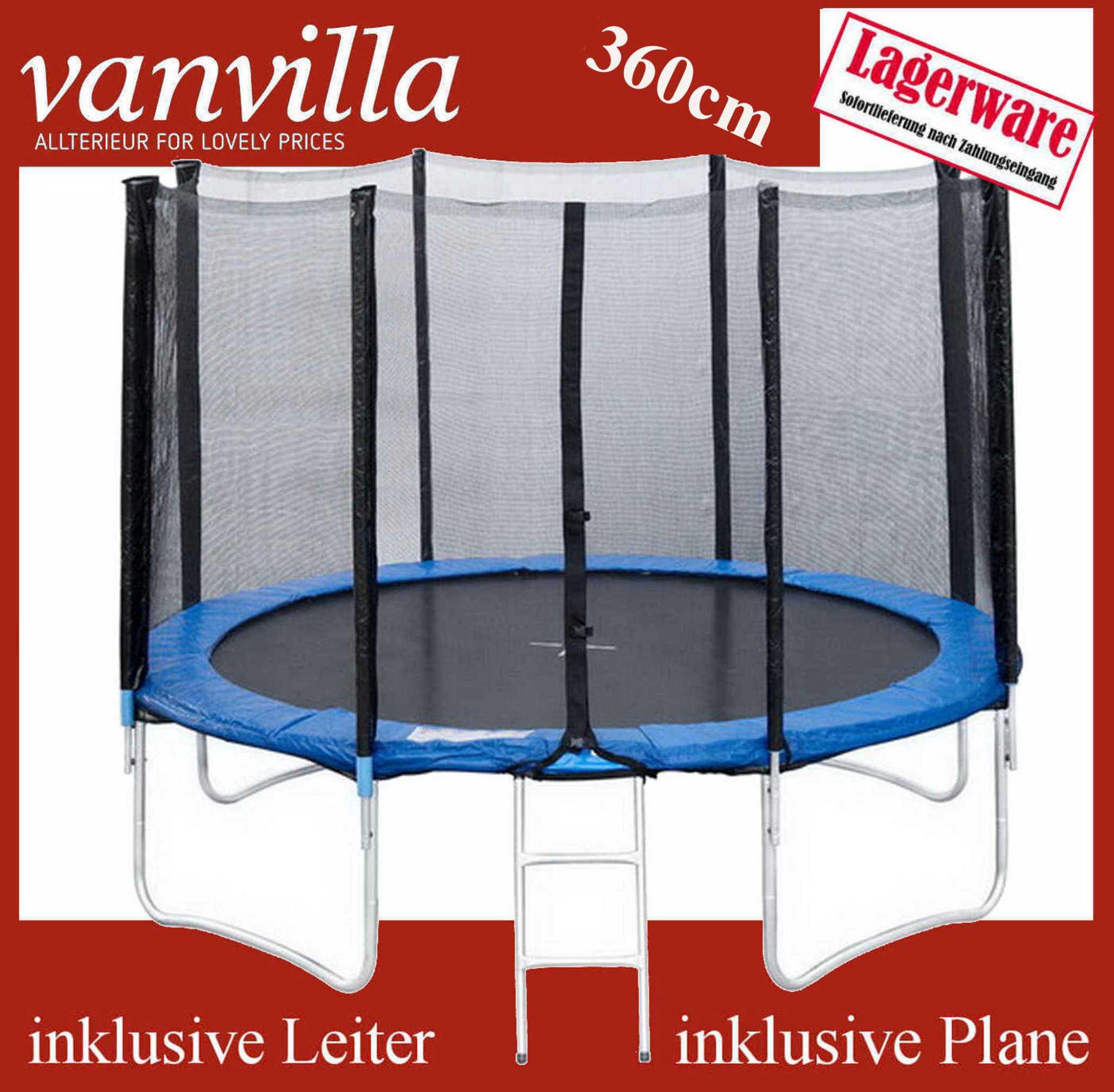 Trampolin 360cm, inkl. Leiter, Regenschutz, Sicherheitsnetz / 2 Kartons