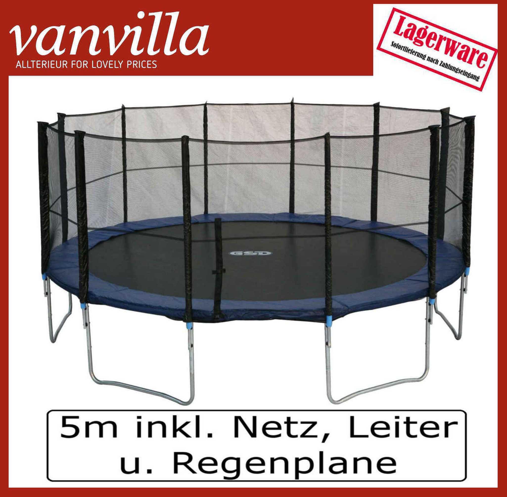 Trampolin 490cm, inkl. Leiter, Regenschutz, Sicherheitsnetz / 4 Kartons