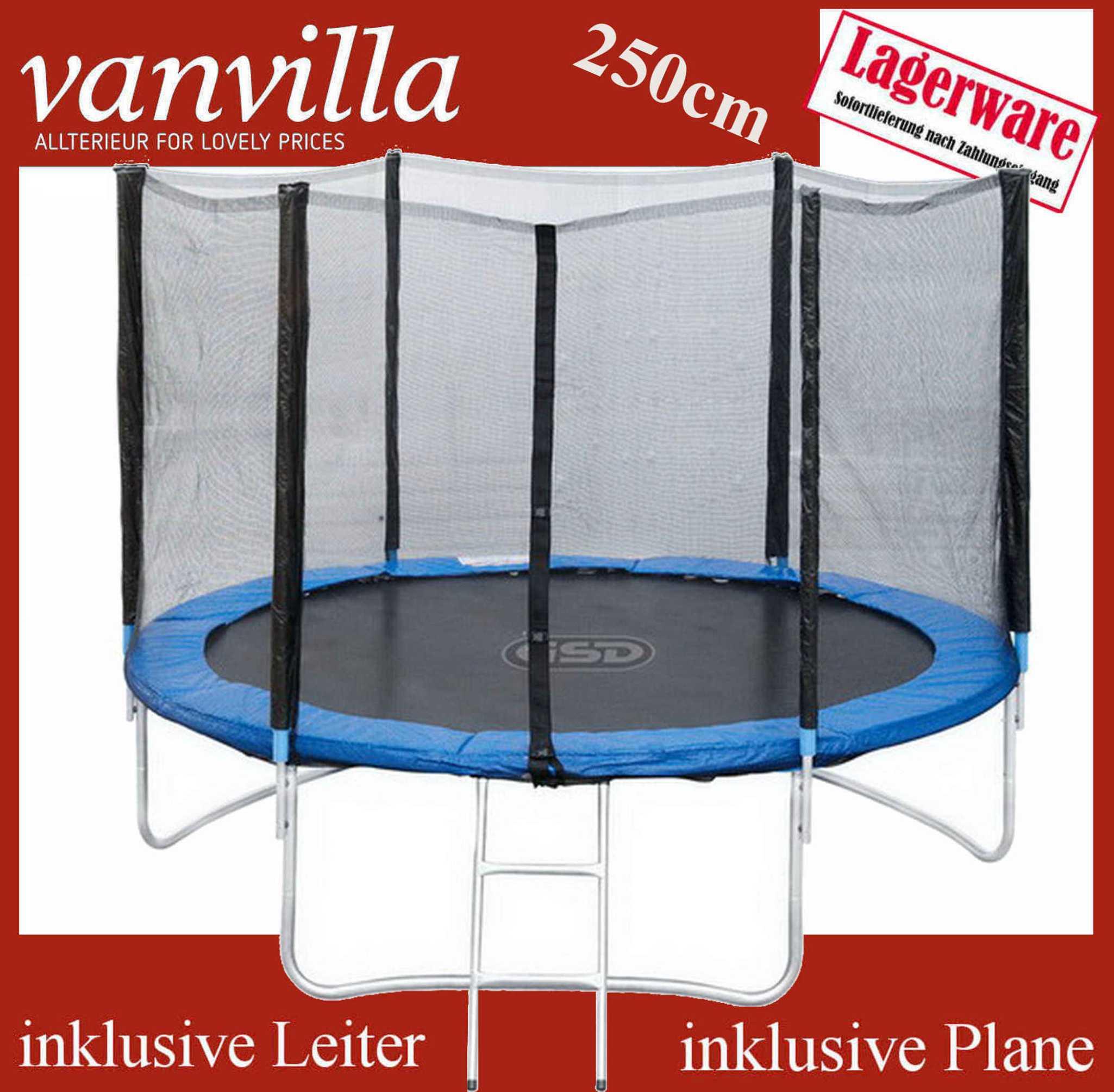 Trampolin 250cm, Leiter, Regenschutz, Sicherheitsnetz /2 Karton, Gartentrampolin